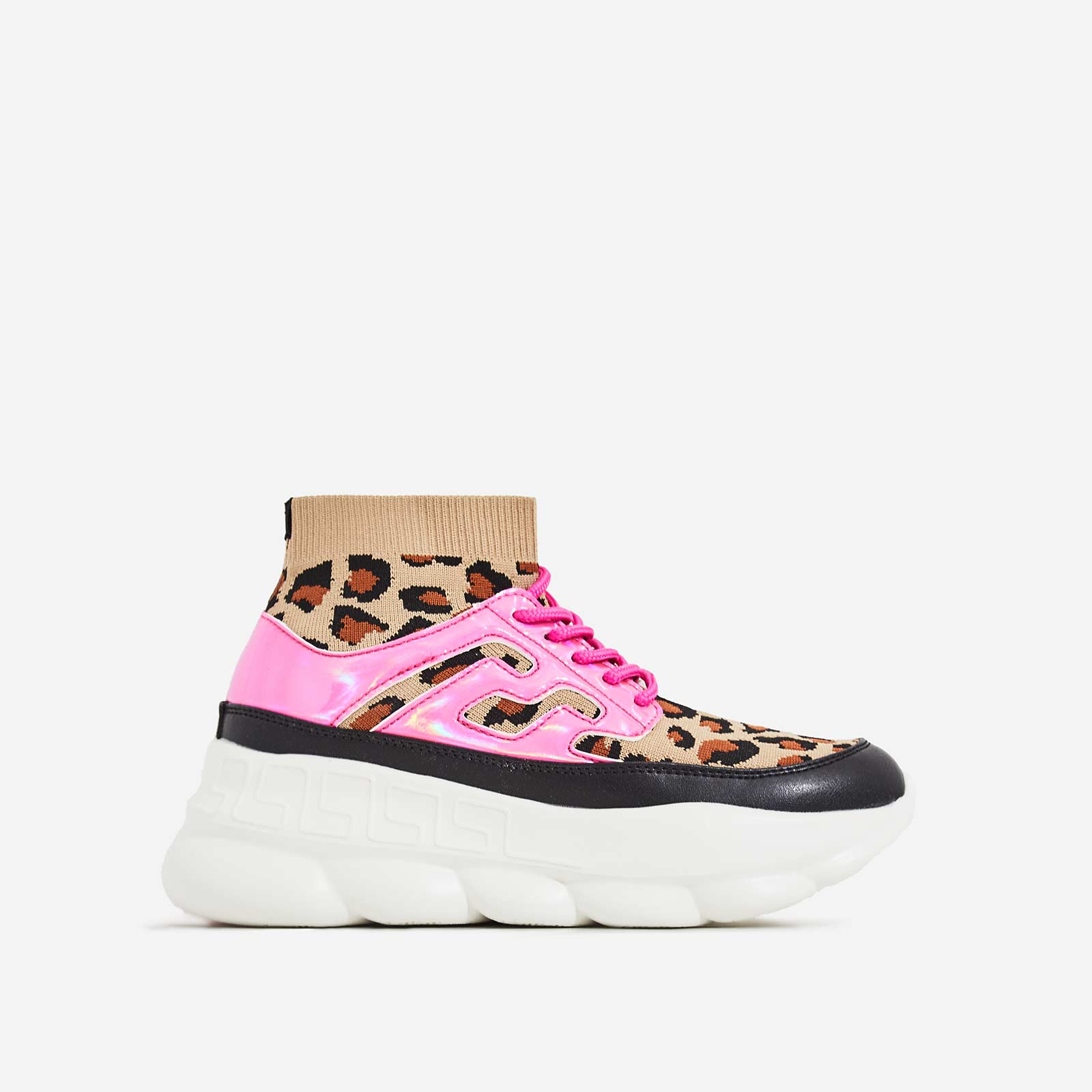 Music Chunky Sole Sock Trainer In Leopard Knit