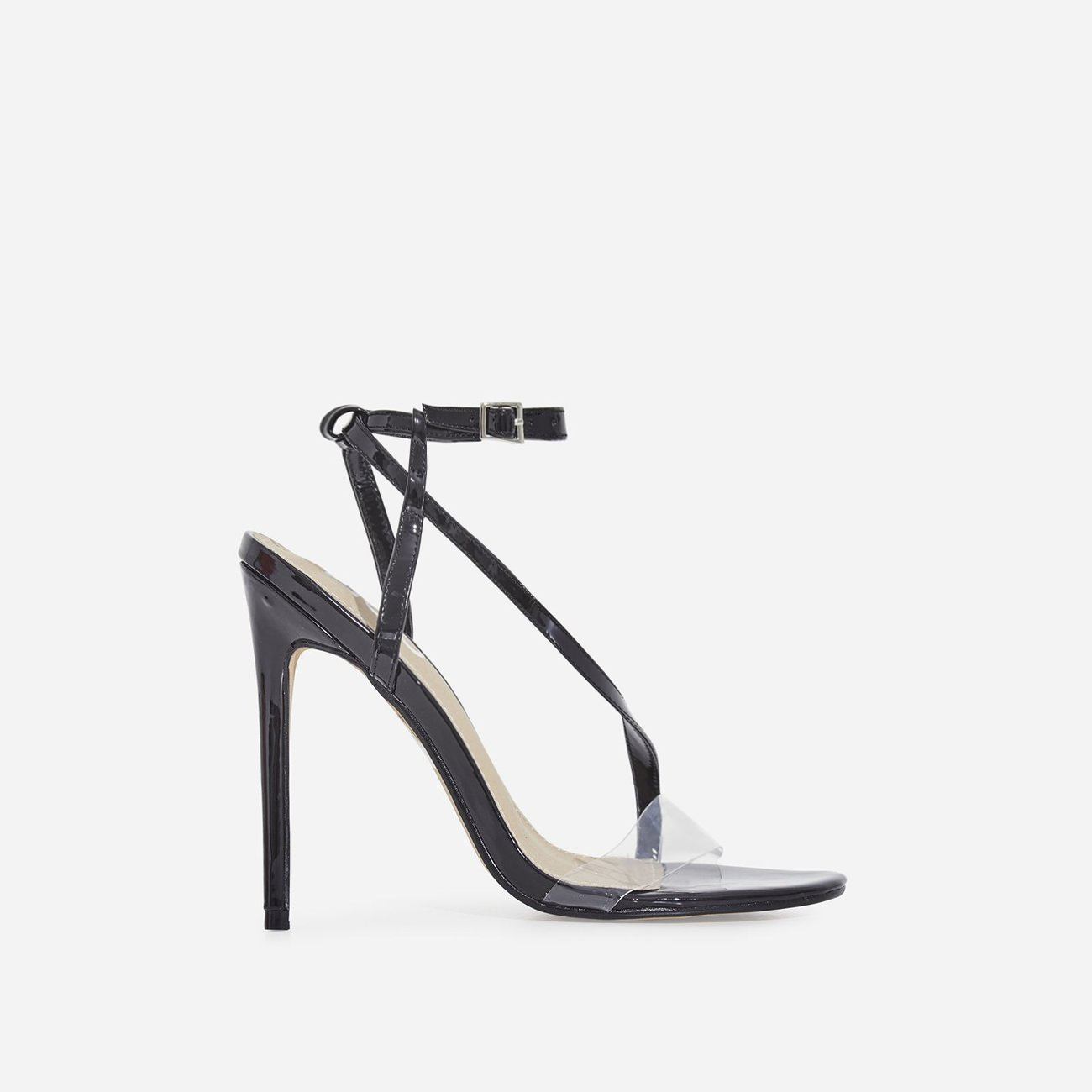 Mystic Perspex Barely There Heel In Black Patent