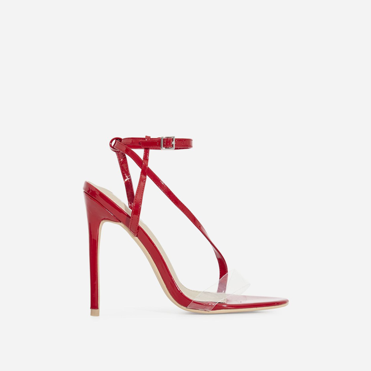 Mystic Perspex Barely There Heel In Red Patent