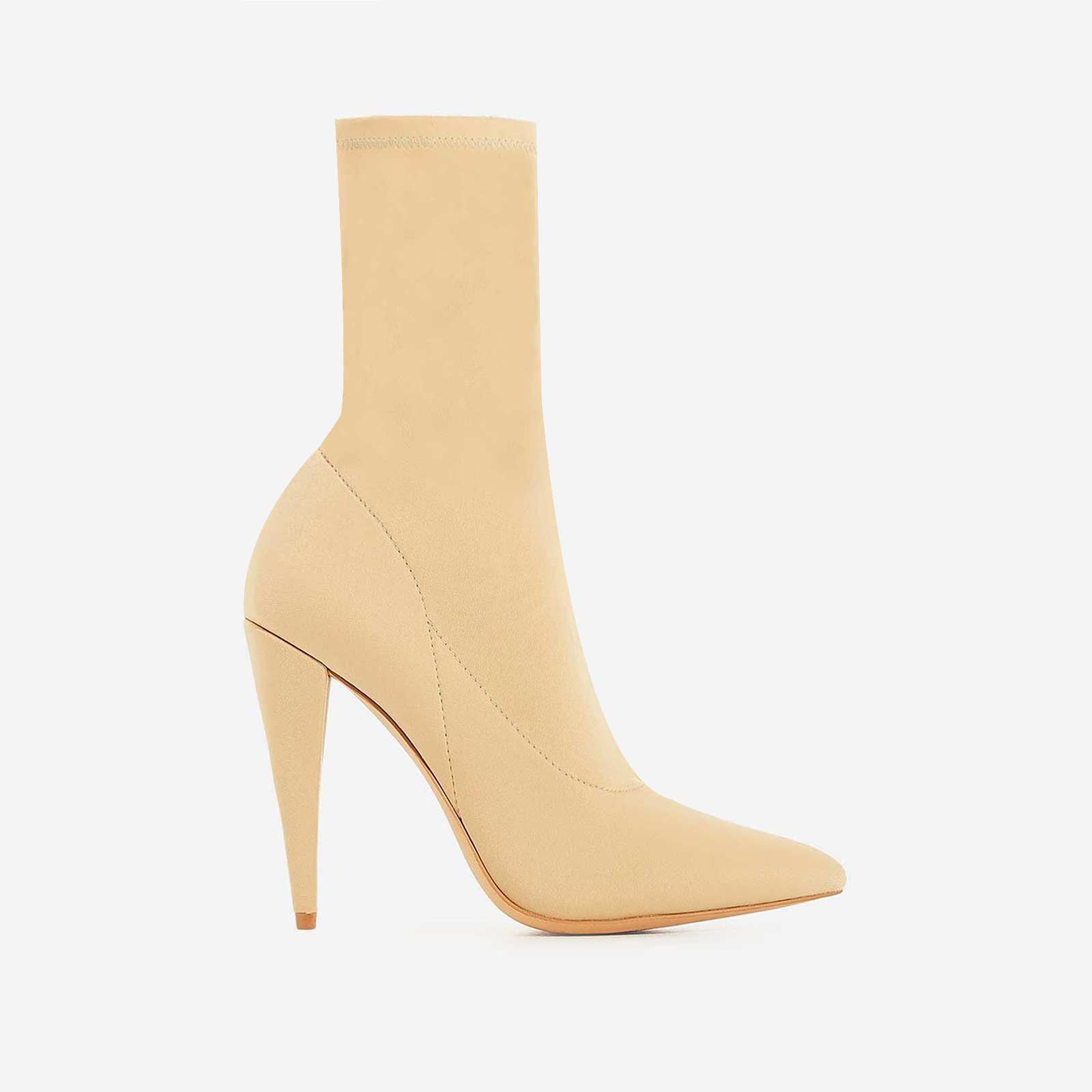 Nala Pointed Heel Ankle Sock Boot In Nude Lycra