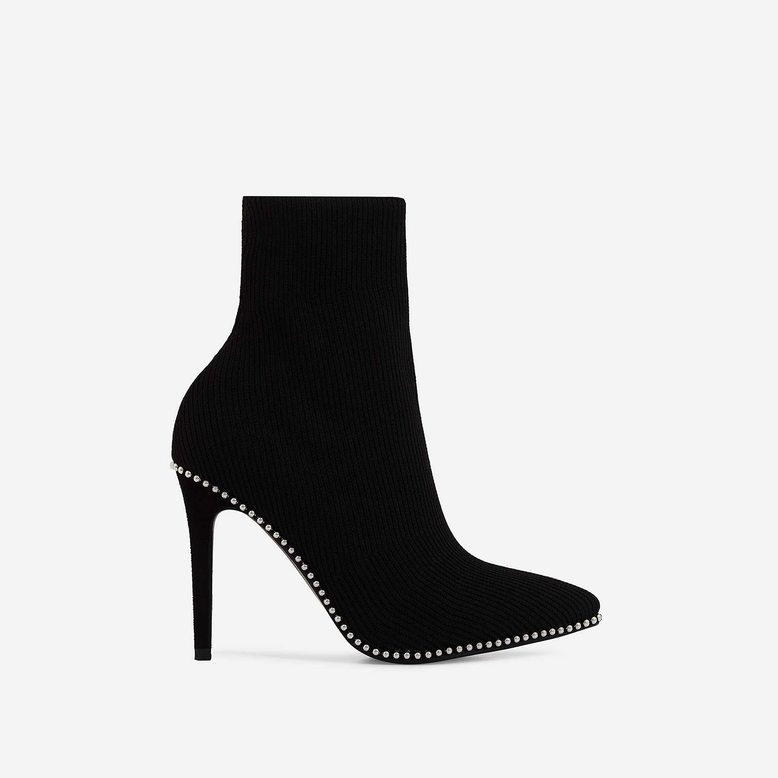Naz Studded Detail Ankle Sock Boot In Black Knit