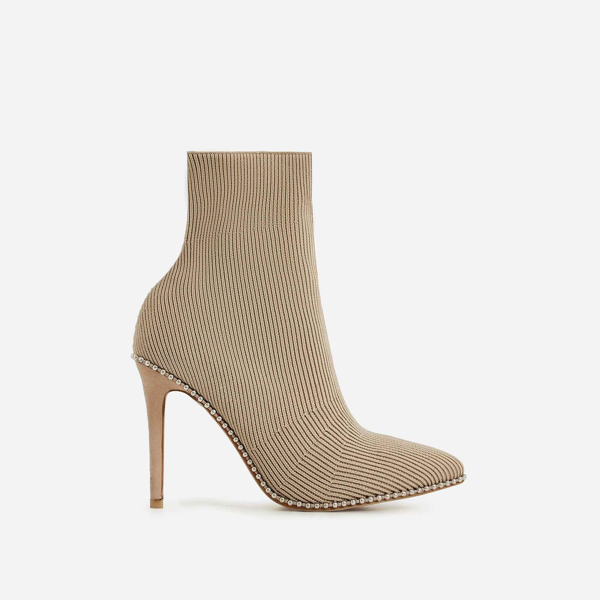 Naz Studded Detail Ankle Sock Boot In Nude Knit