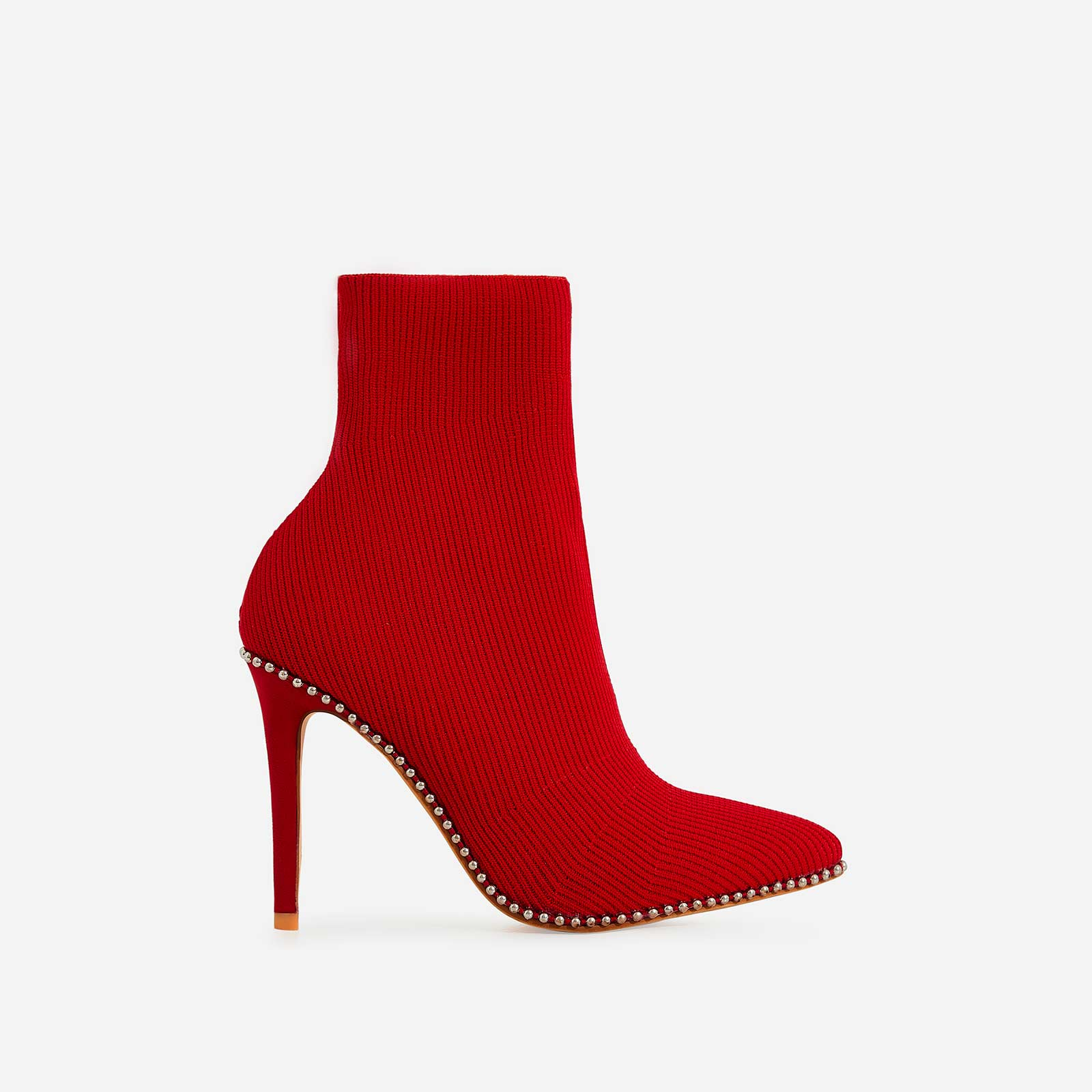 Naz Studded Detail Ankle Sock Boot In Red Knit