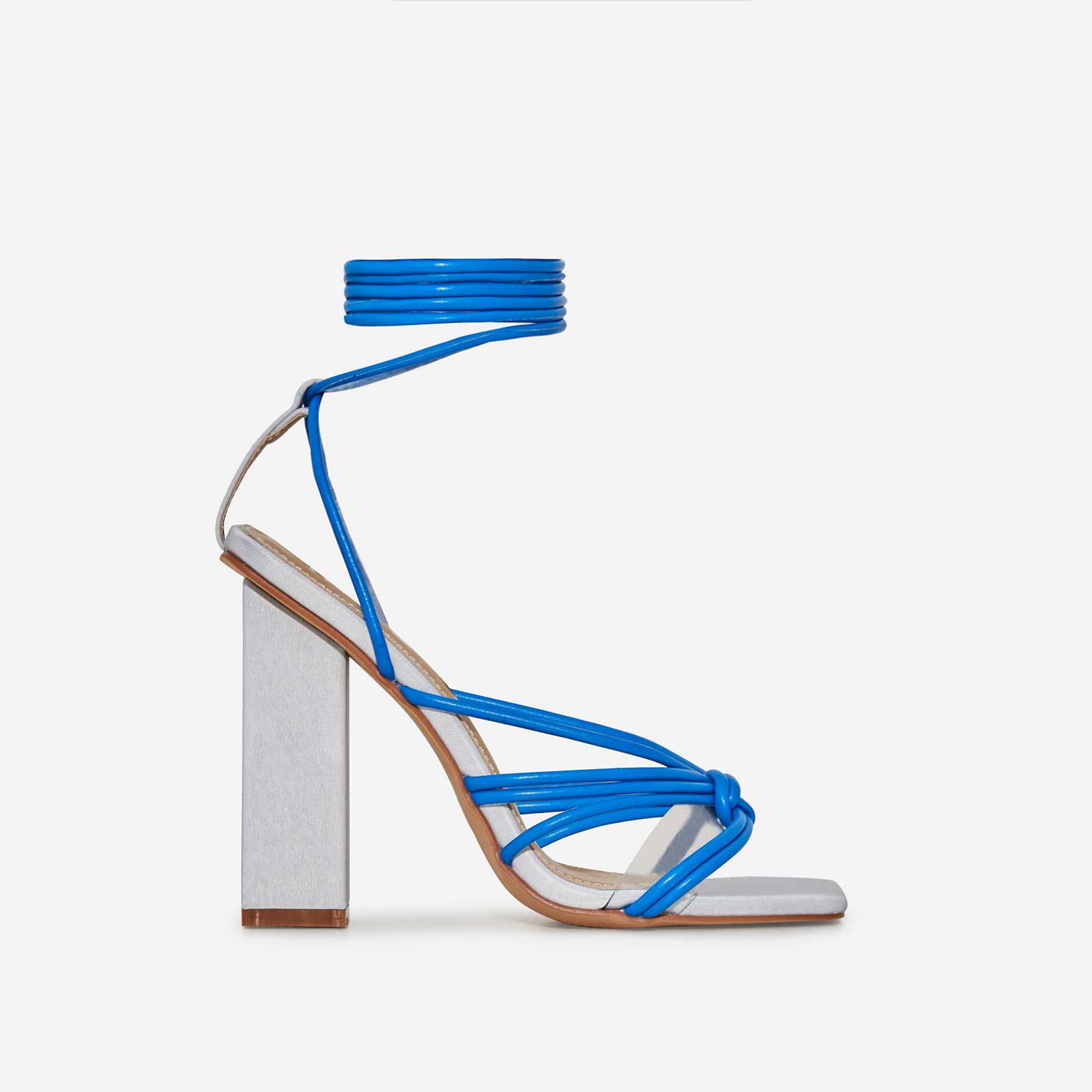 Neima Lace Up Square Toe Perspex Block Heel In Reflective Silver And Blue Faux Leather
