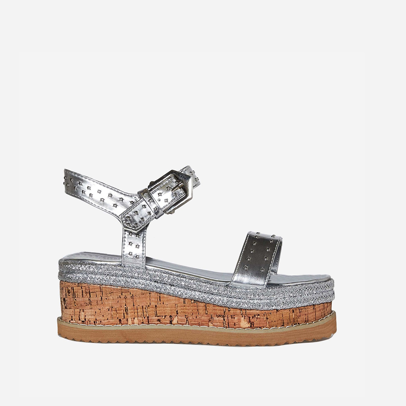 Sofia Studded Detail Flatform Espadrille Sandal In Silver Faux Leather