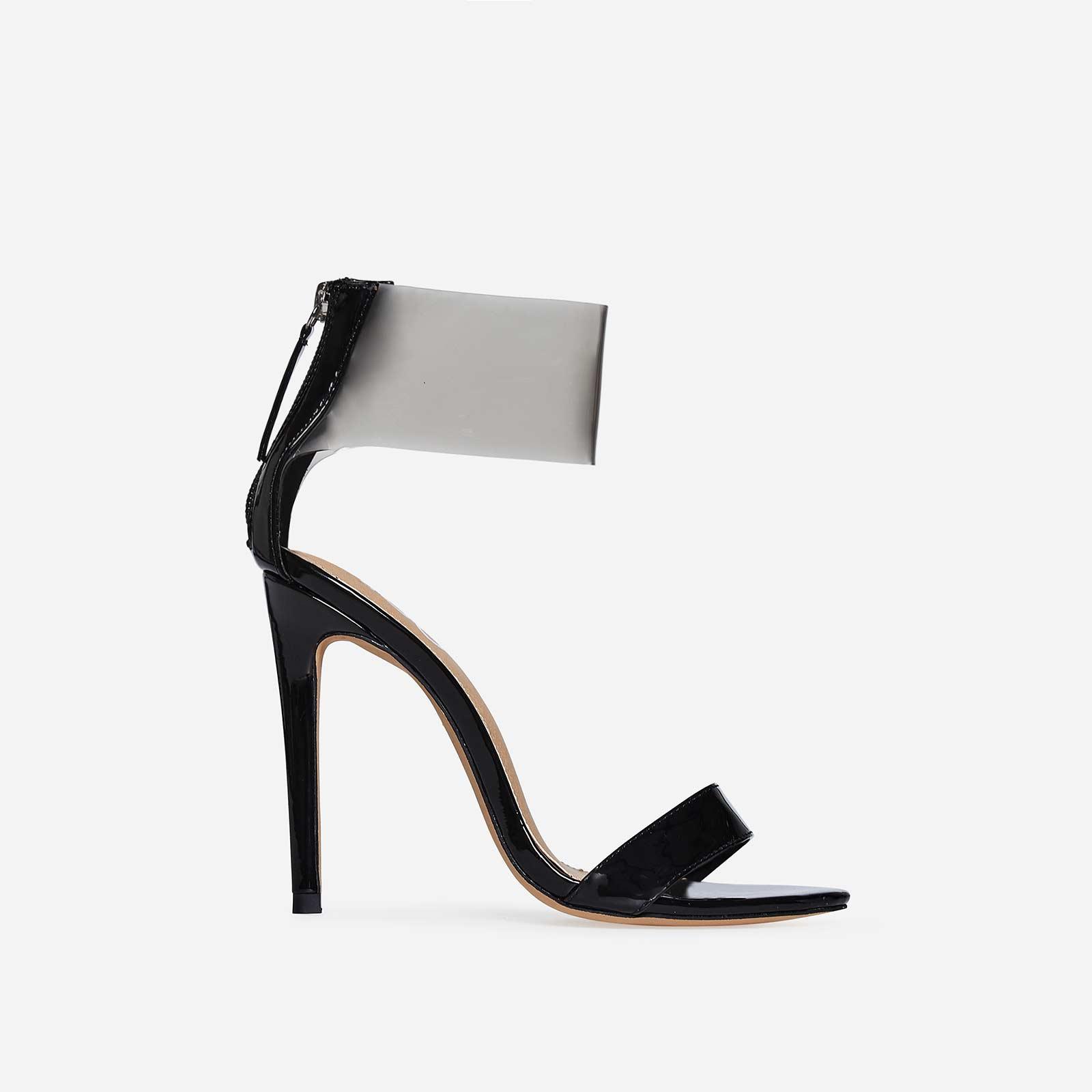 Britt Perspex Cuff Heel In Black Patent