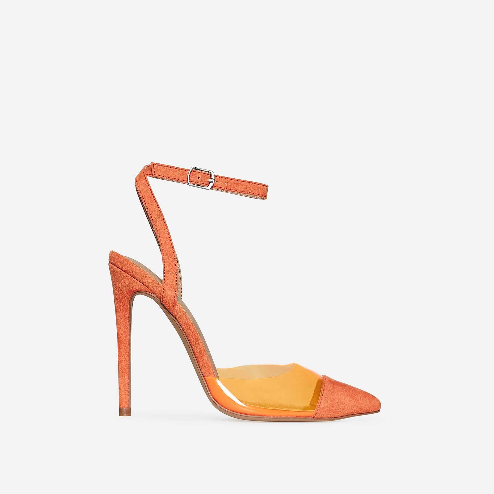 Frankie Coloured Perspex Heel In Orange Faux Suede