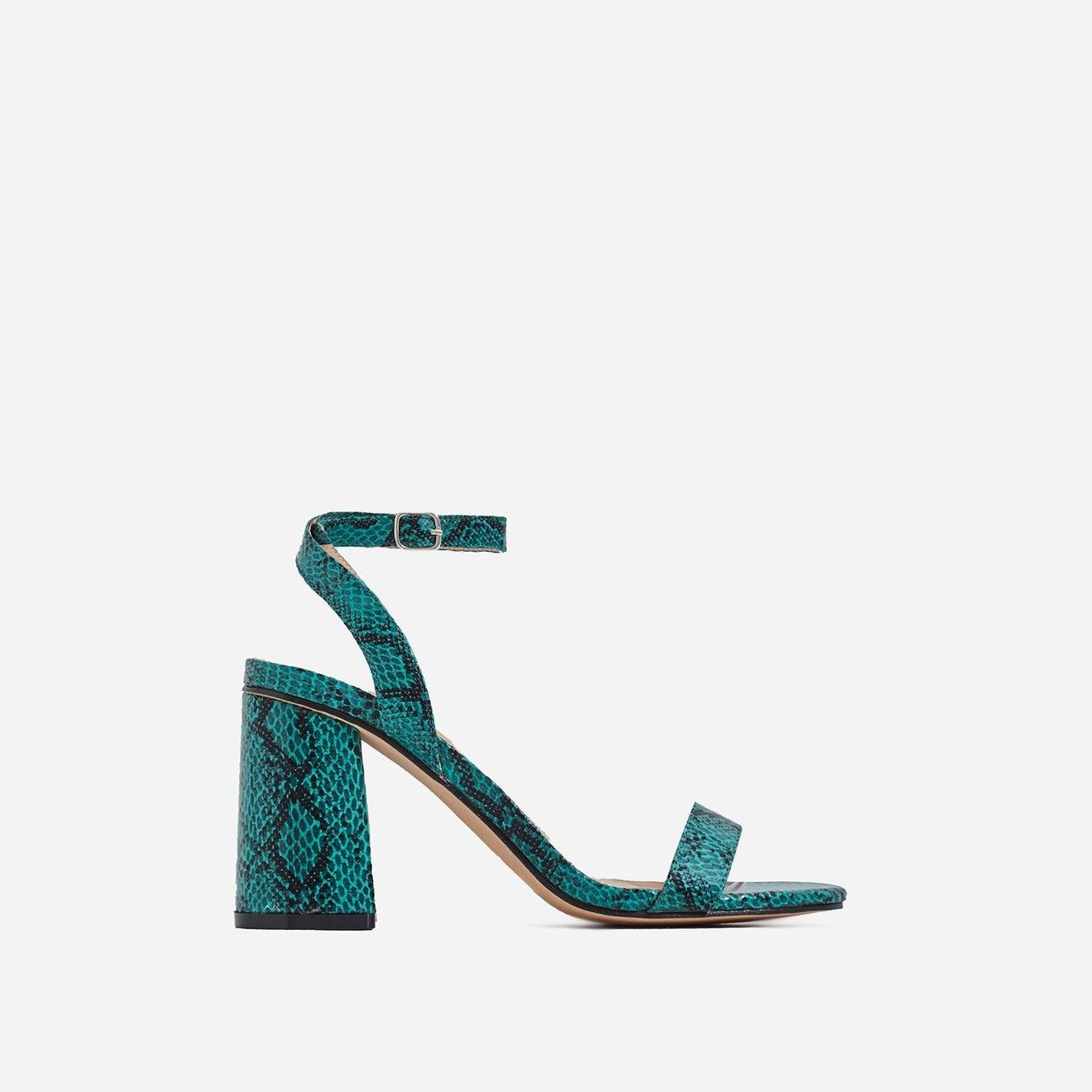 Nikita Midi Block Heel In Green Snake Print Faux Leather