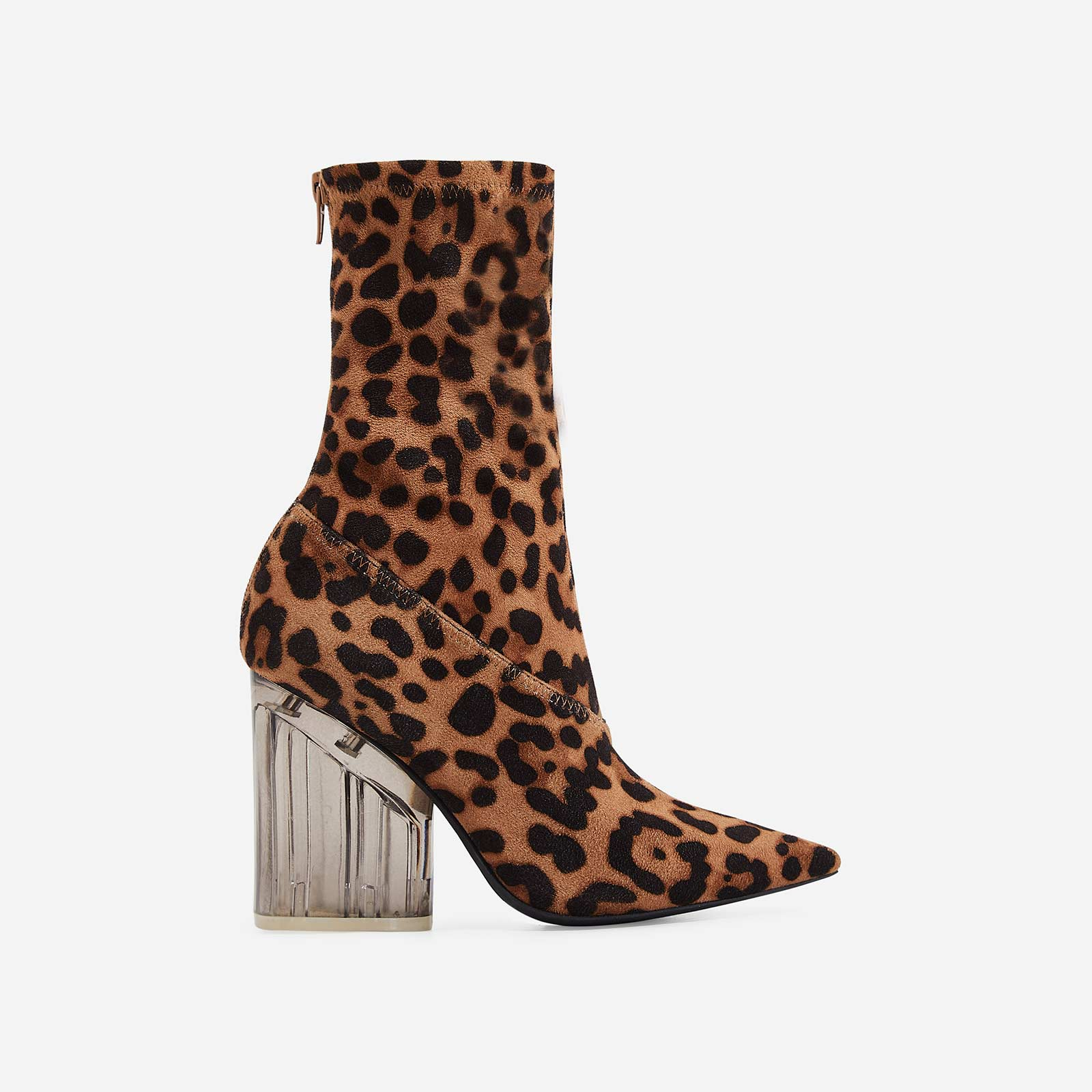 Niko Perspex Block Heel Pointed Ankle Sock Boot In Tan Leopard Faux Suede