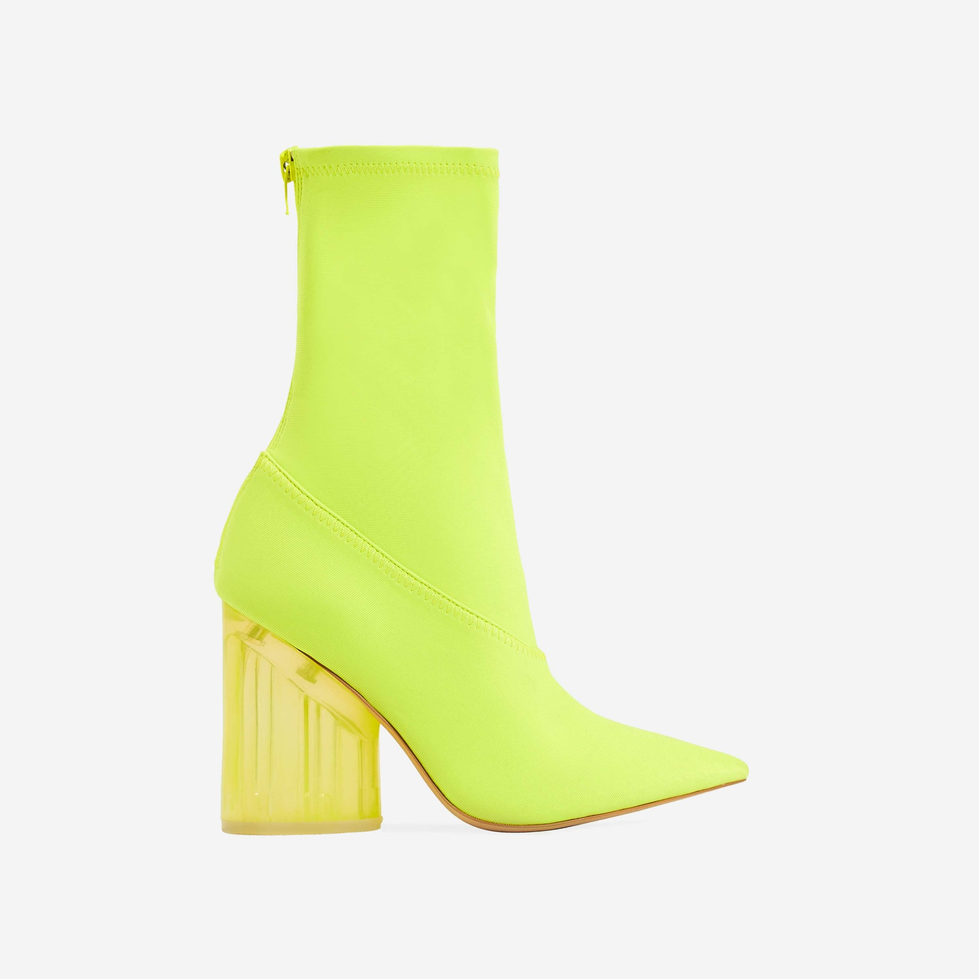 Niko Perspex Block Heel Pointed Ankle Sock Boot In Neon Yellow Lycra