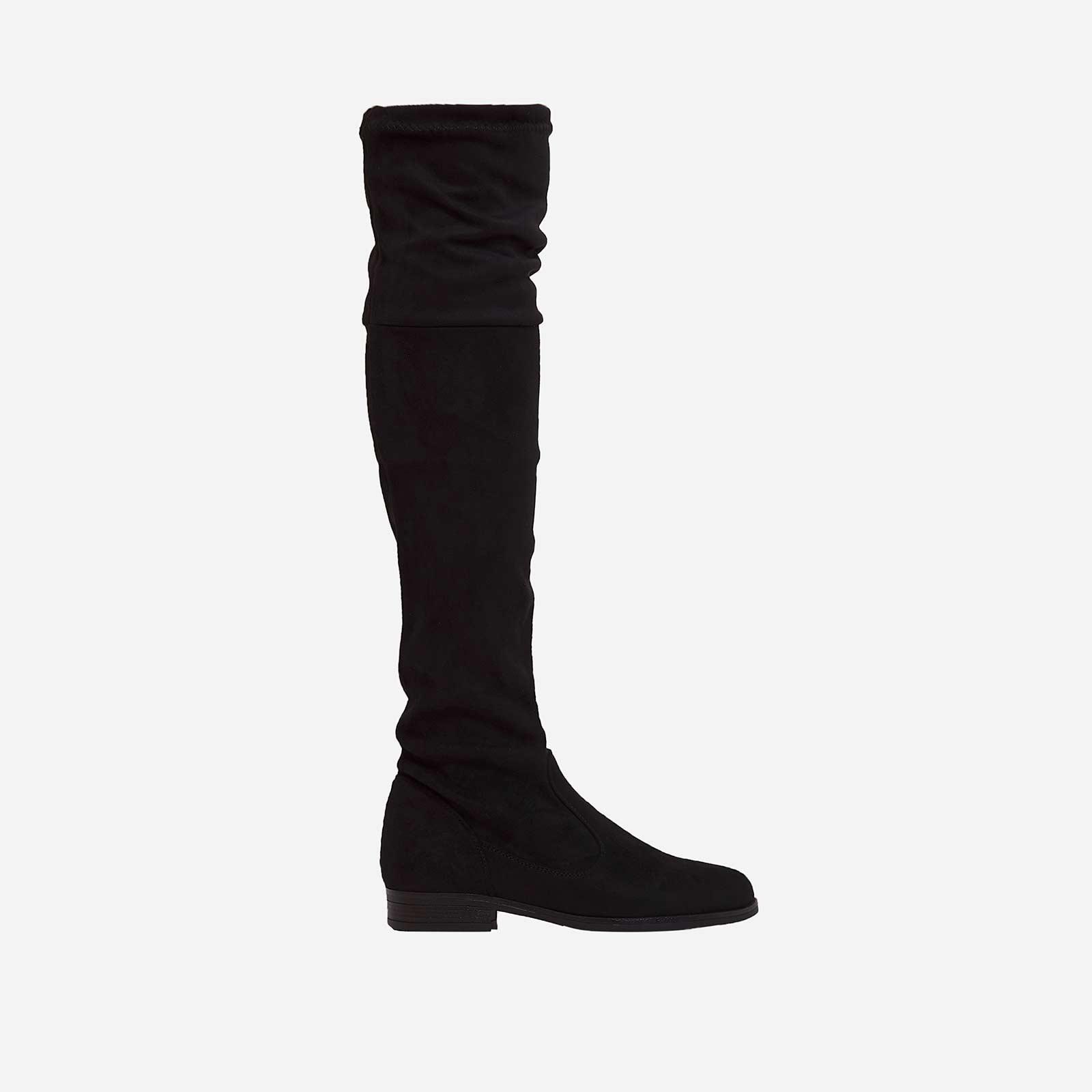 Melanie Long Boot In Black Faux Suede
