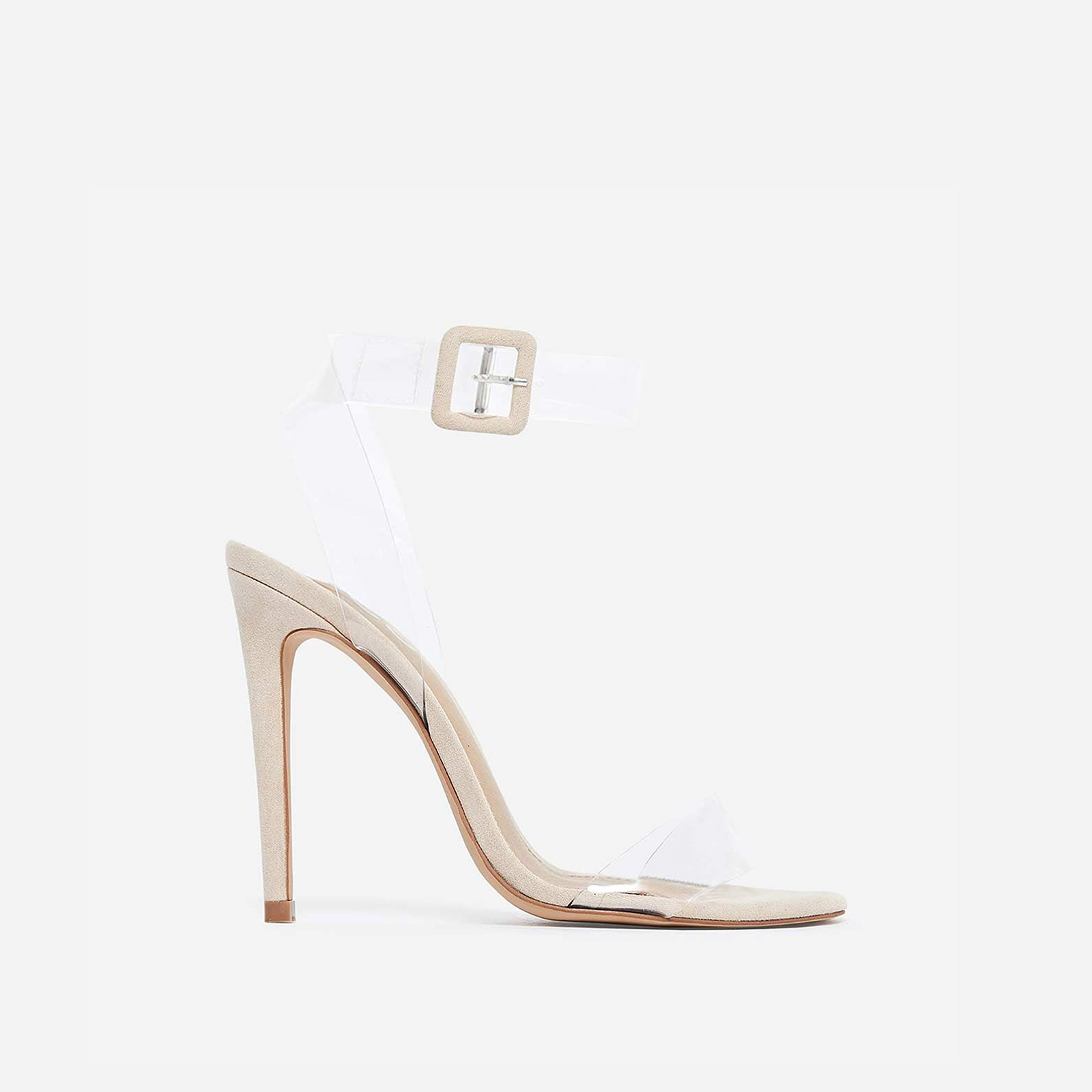 Neda Barely There Perspex Heel In Nude Faux Suede