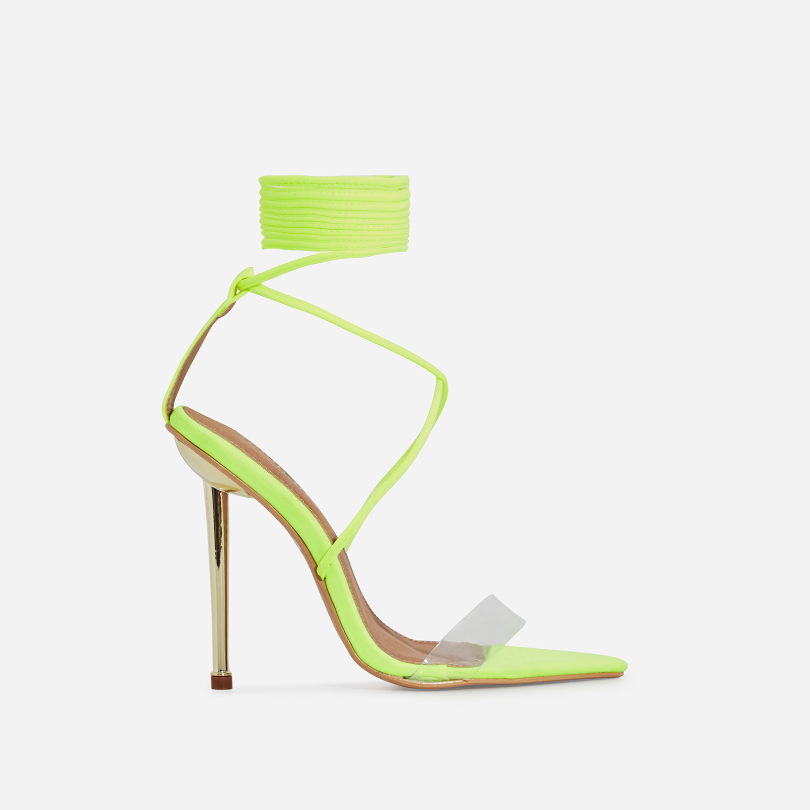 Nobu Pointed Toe Perspex Lace Up Heel In Neon Yellow Lycra
