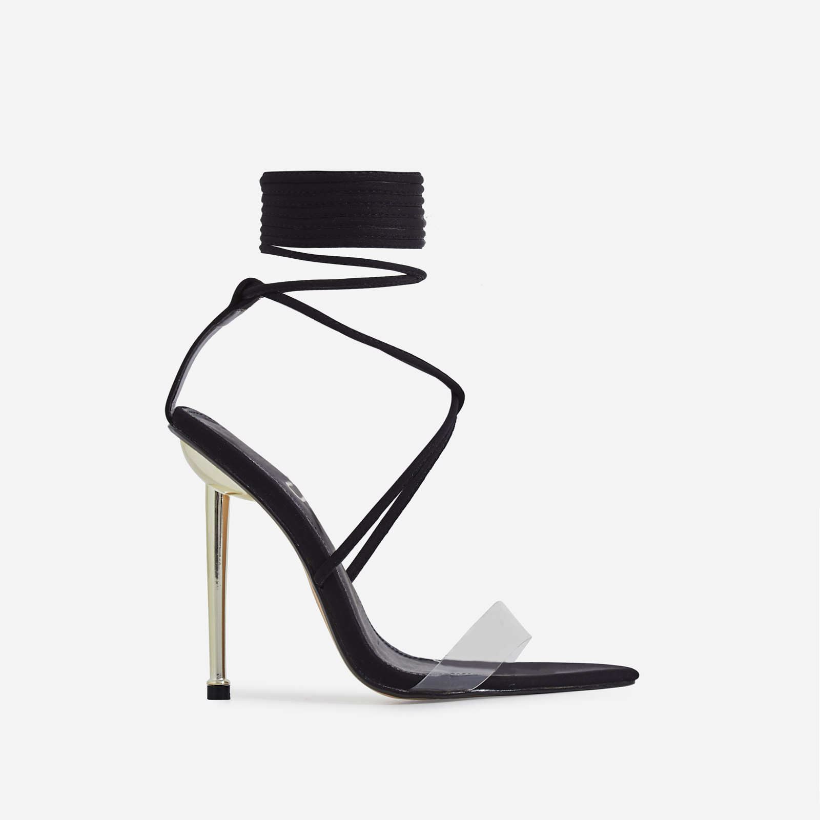 Nobu Pointed Toe Perspex Lace Up Heel In Black Lycra