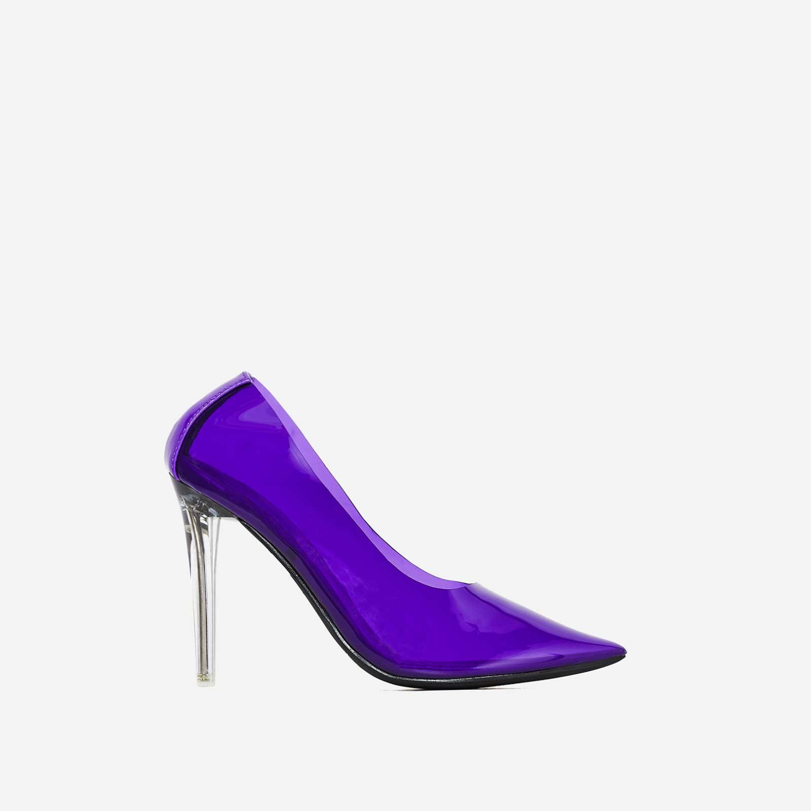 Nuclear Perspex Court Heel In Purple