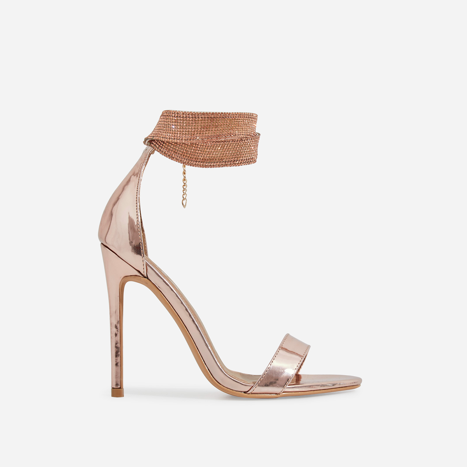 Nuri Diamante Detail Strap Heel In Rose Gold