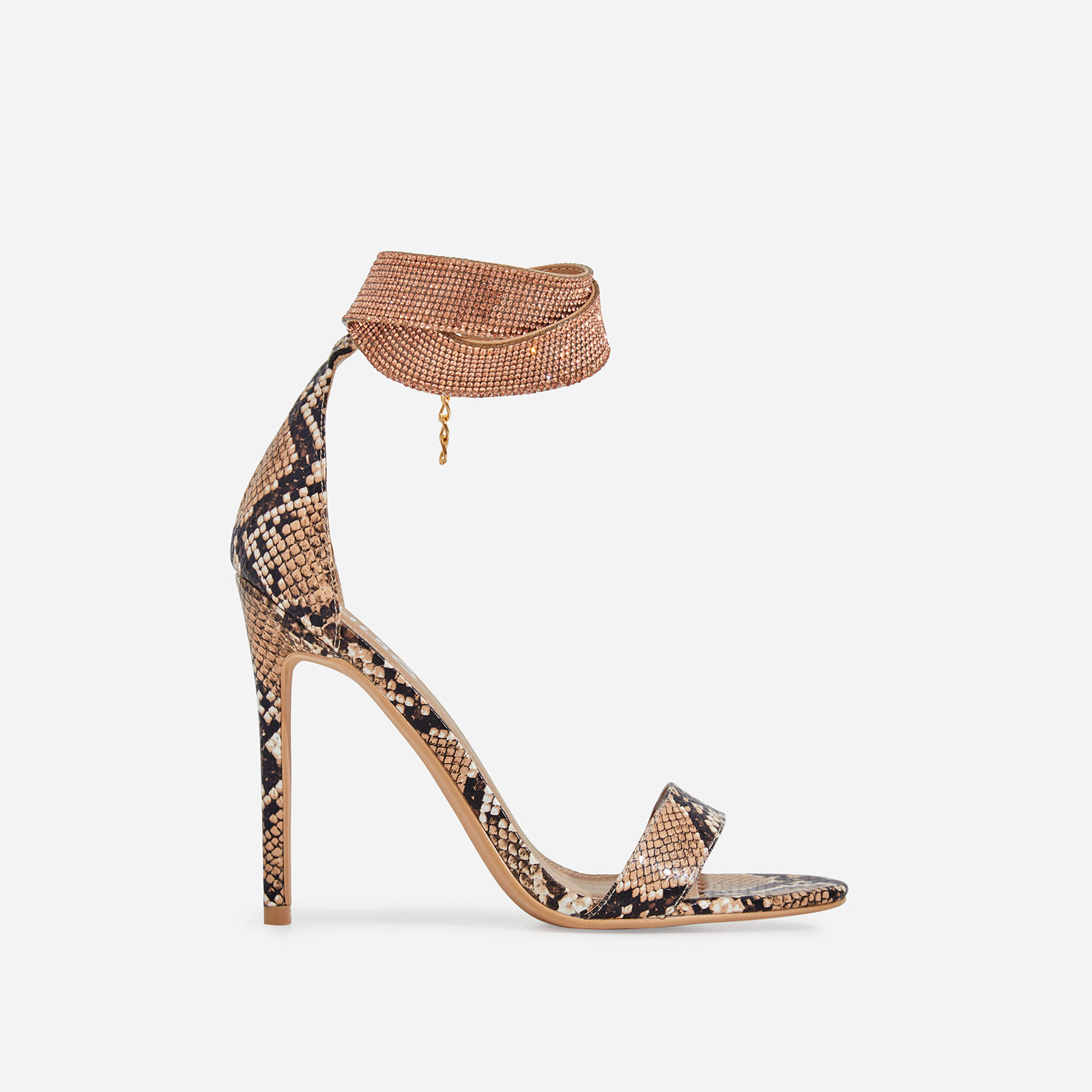 Nuri Diamante Detail Strap Heel In Nude Snake Faux Leather