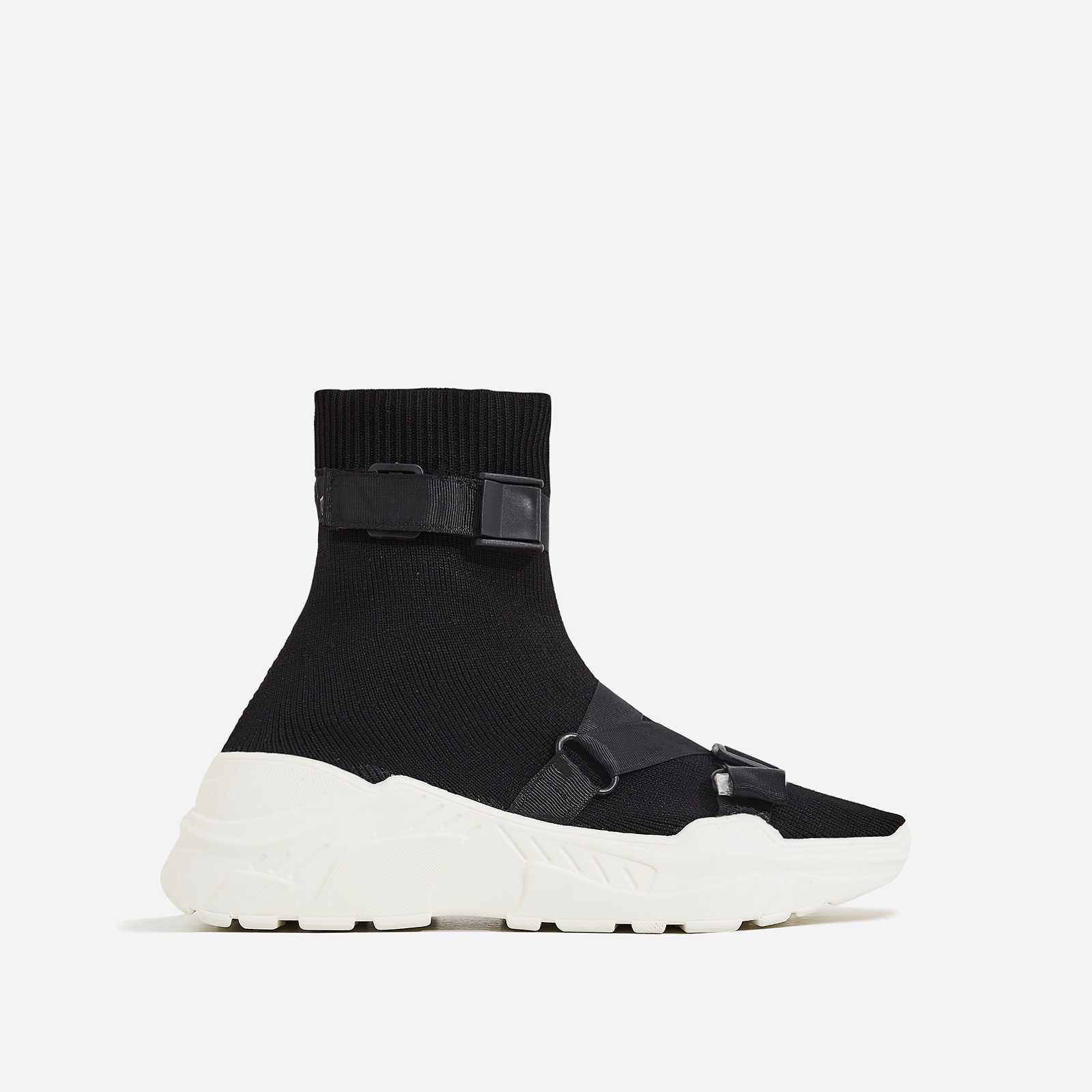Off-Black Chunky Sole Sock Trainer In Black Knit