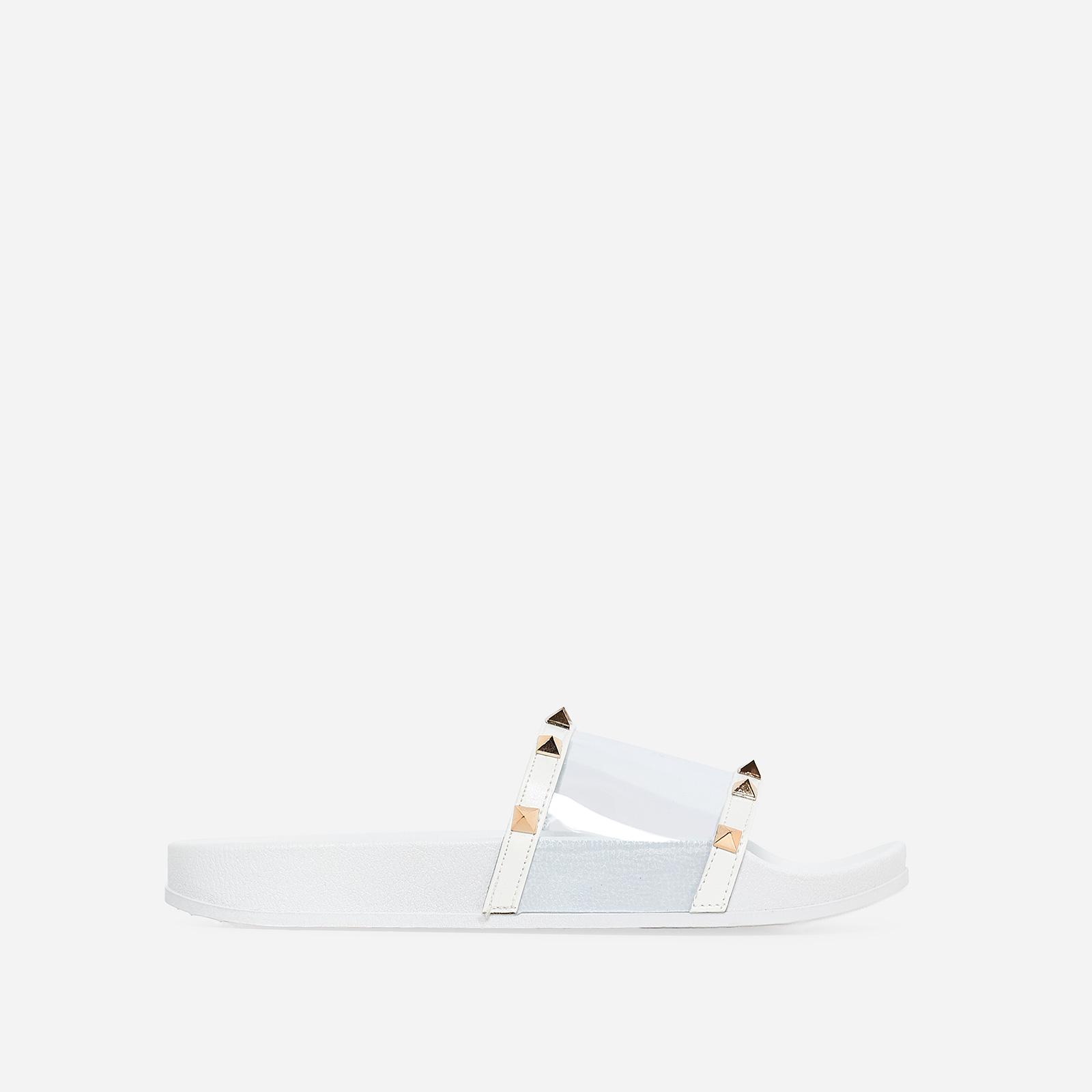 Ora Studded Detail Perspex Slider In White Rubber