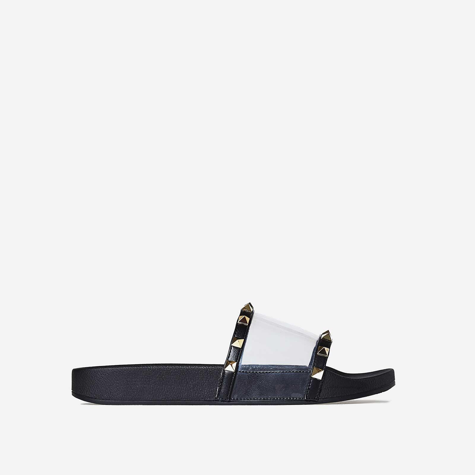 Ora Studded Detail Perspex Slider In Black Rubber