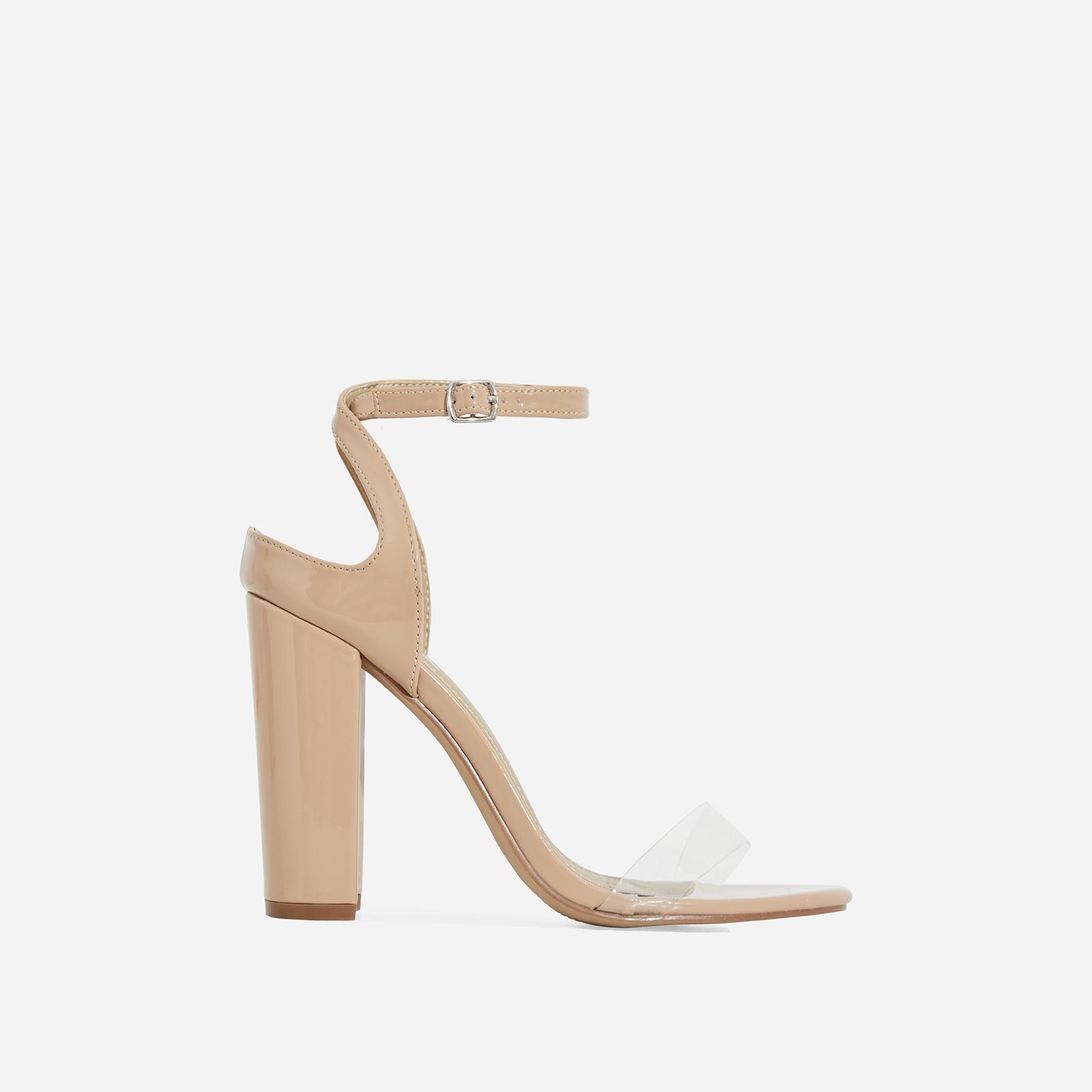 Oti Perspex Block Heel In Nude Patent