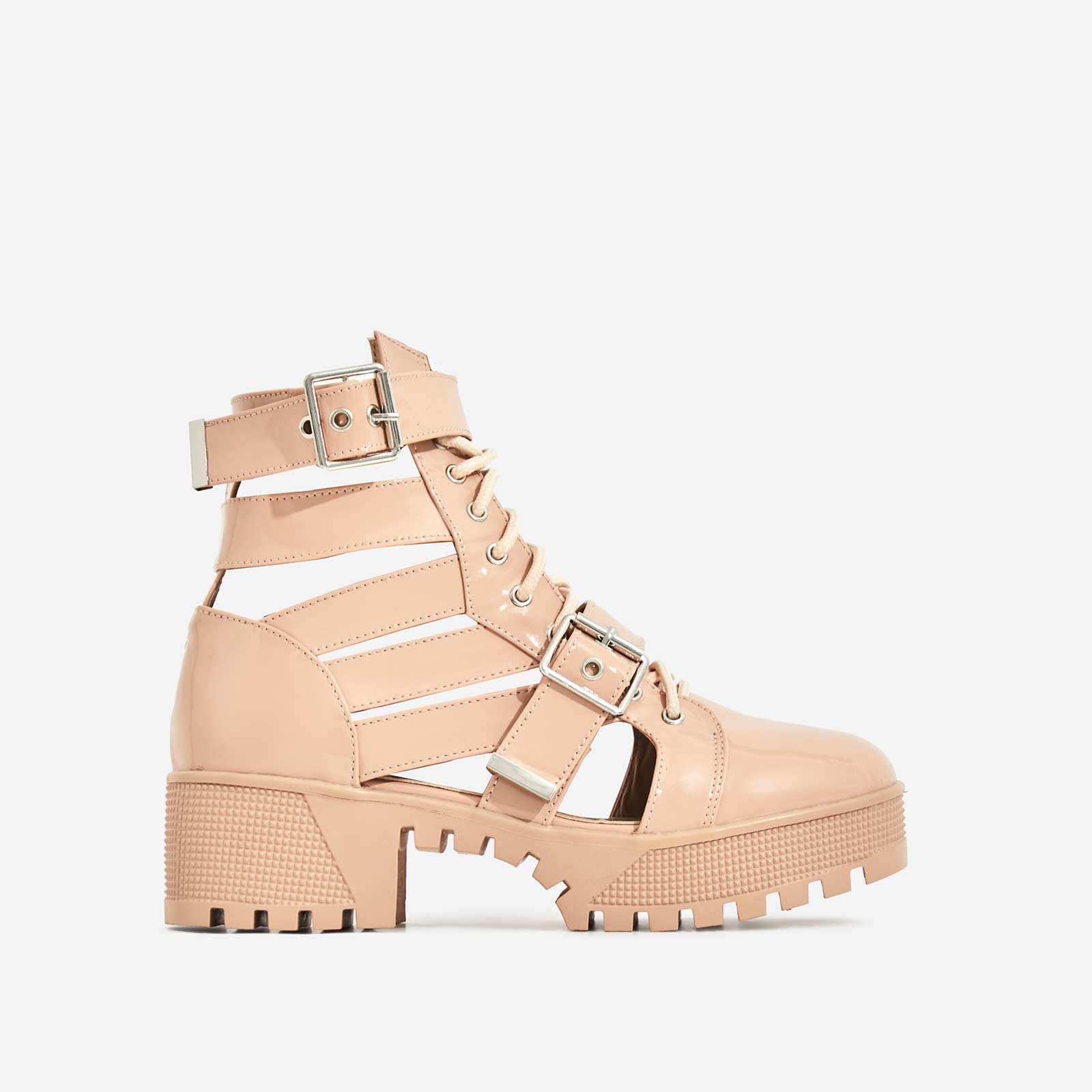 Page Chunky Sole Lace Up Cut Out Ankle Biker Boot In Nude Patent