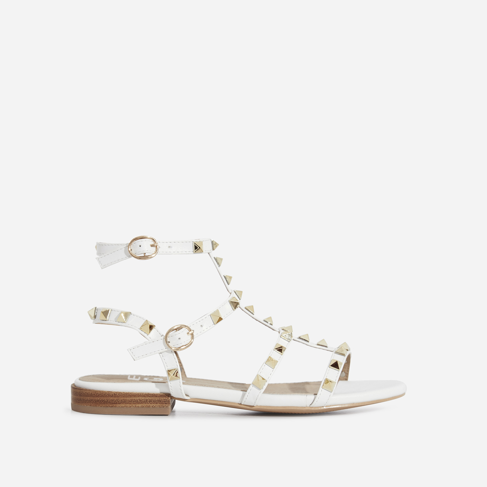 Paisley Gold Studded Detail Gladiator Sandal In White Faux Leather