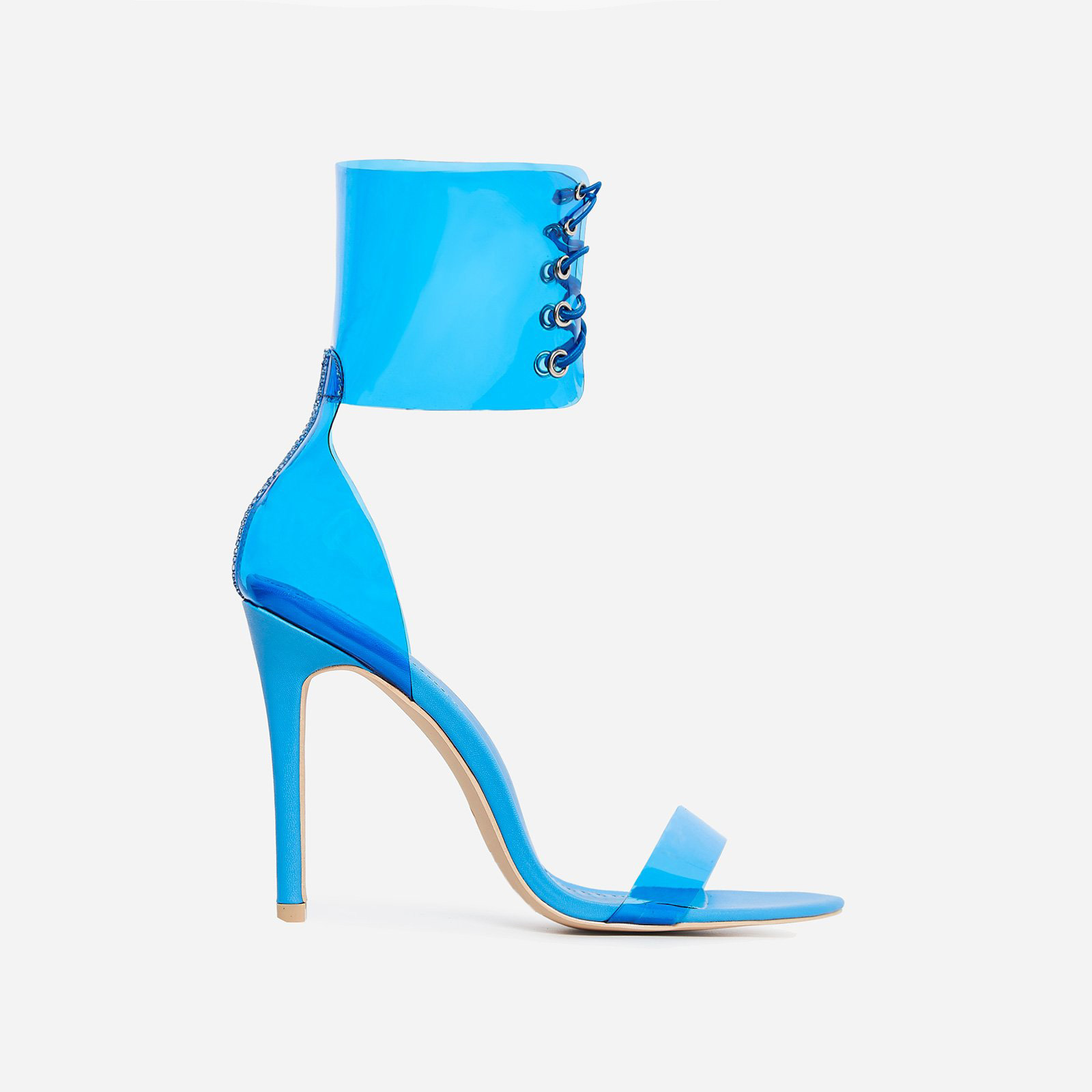 Passion Lace Up Perspex Heel In Blue Patent