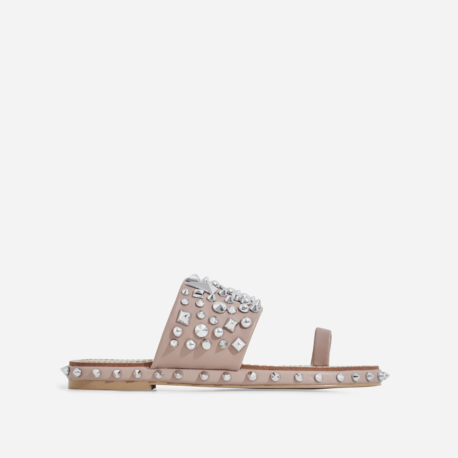 Pedro Studded Detail Toe Strap Slider In Nude Faux Leather