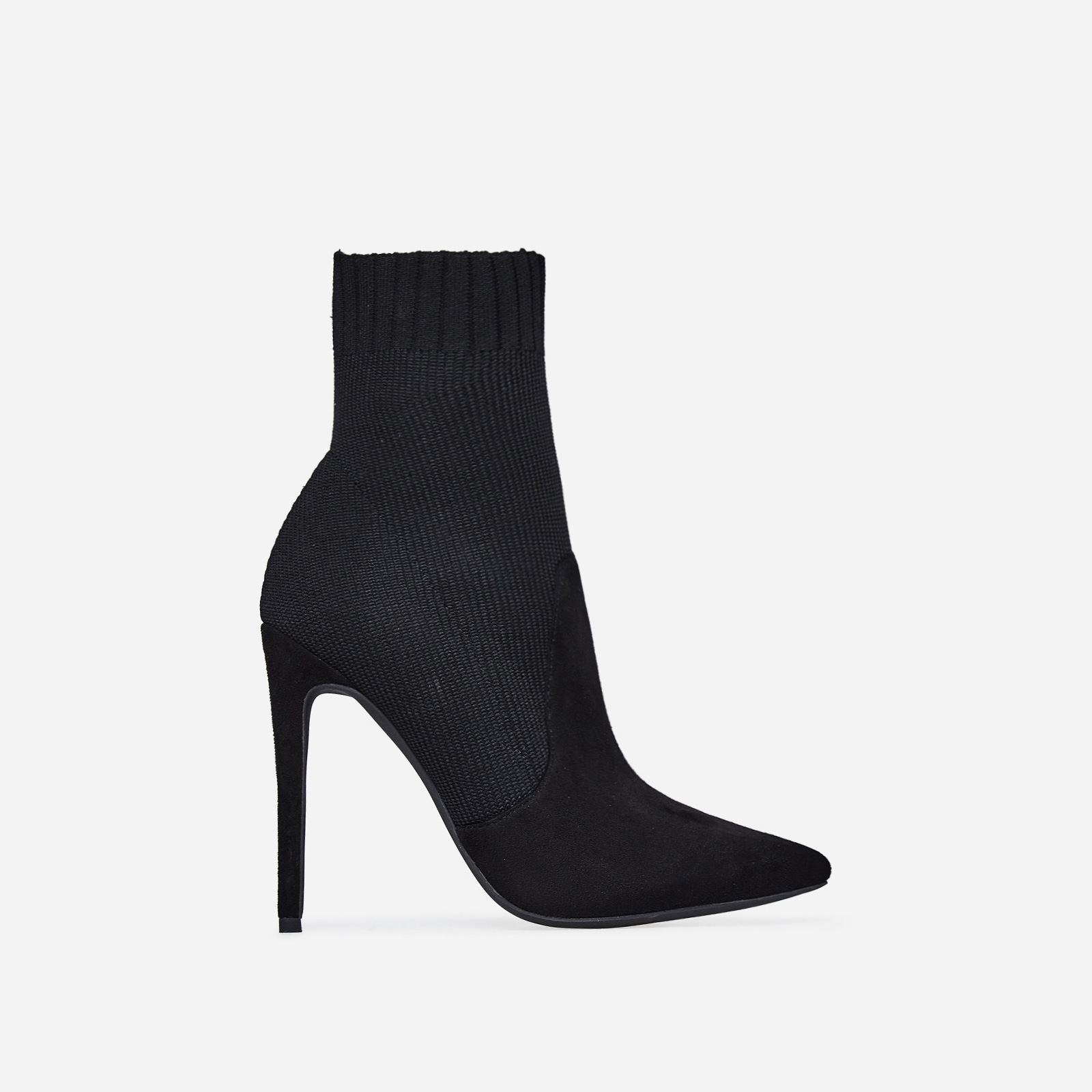 Phoenix Knitted Sock Boot In Black Faux Suede