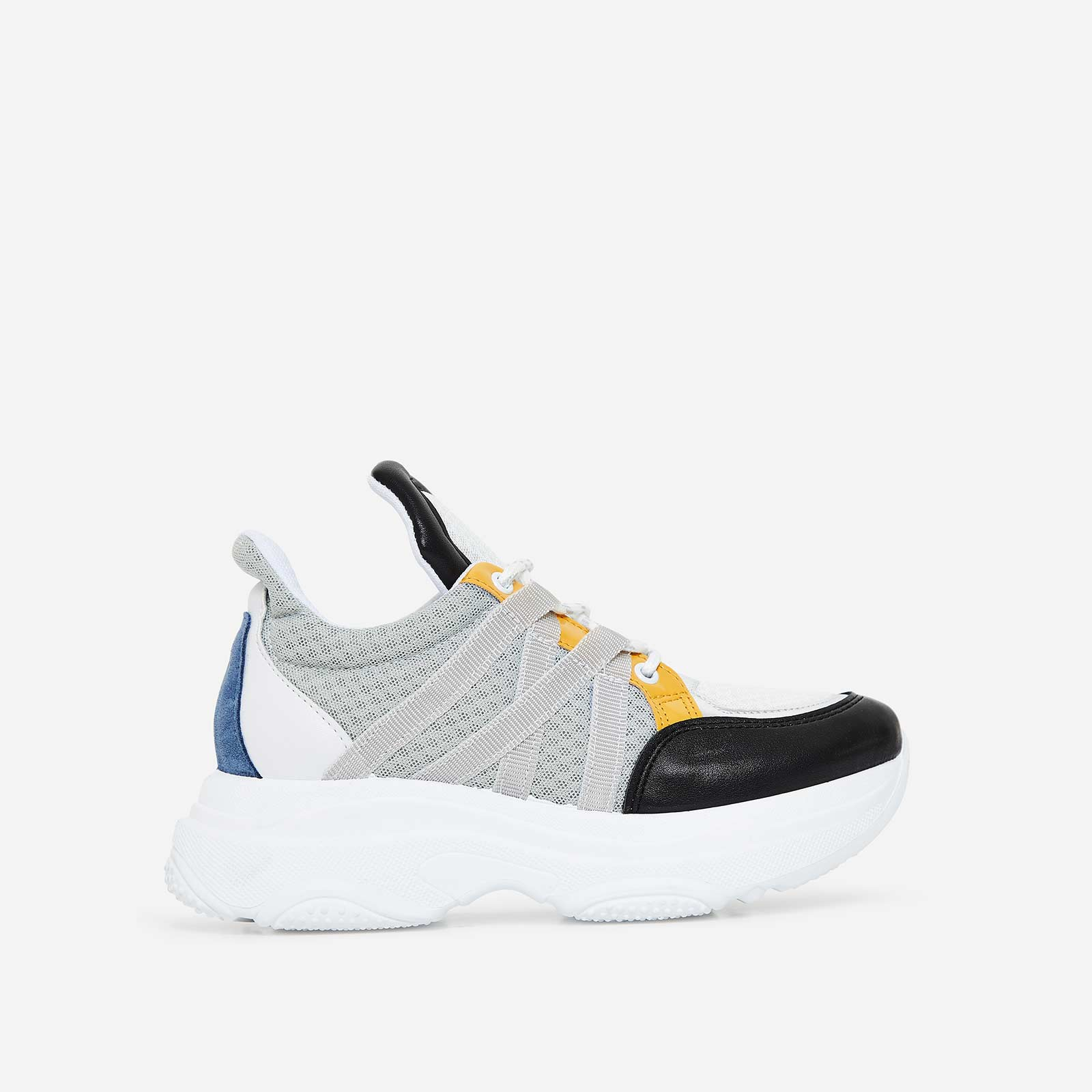Pluto Chunky Trainer In Grey And Yellow