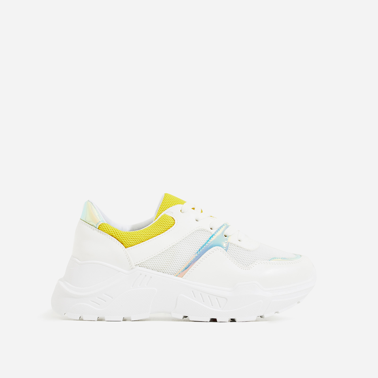 Jensen Chunky Sole Yellow Mesh Trainers In White Faux Leather