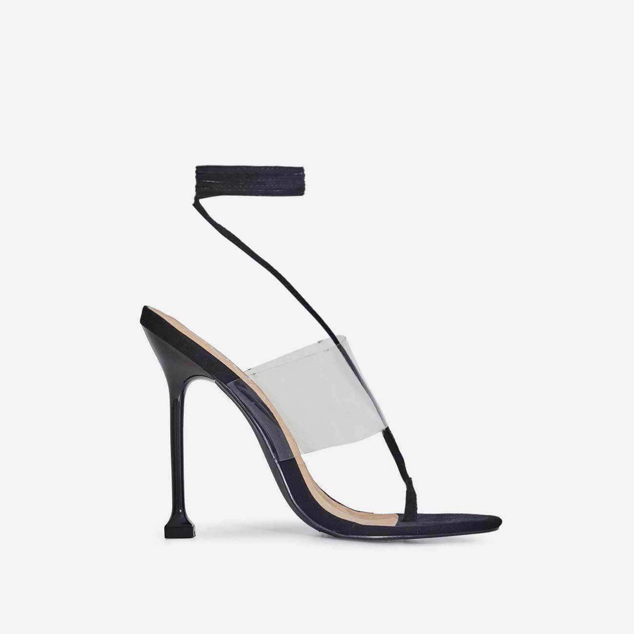 Presca Lace Up Perspex Heel In Black Faux Suede