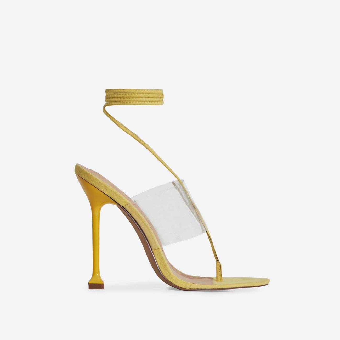 Presca Lace Up Perspex Heel In Yellow Faux Suede