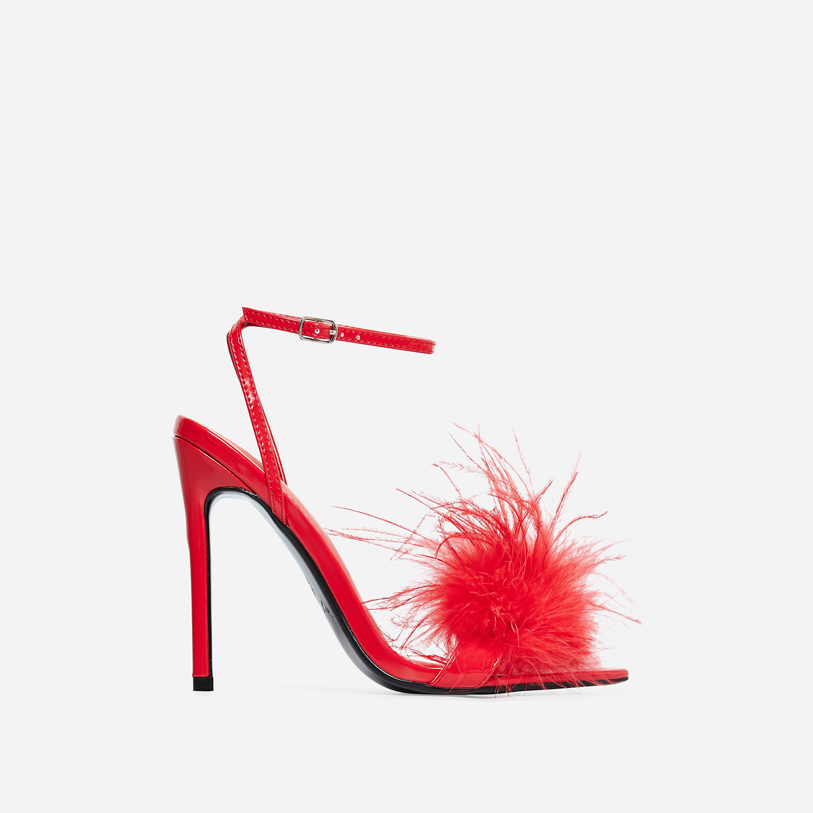 Rae Faux Feather Fluffy Heel In Red Faux Leather