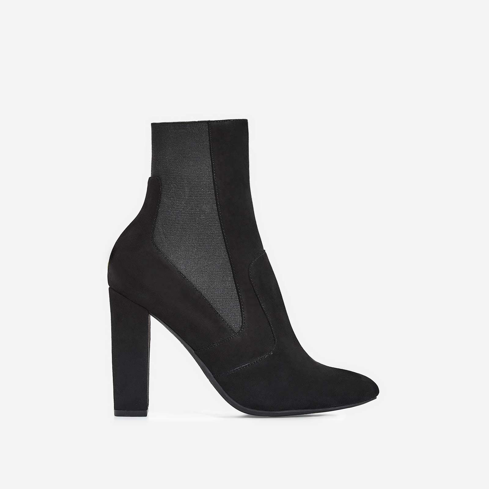 Rafael Block Heel Ankle Sock Boot In Black Faux Suede
