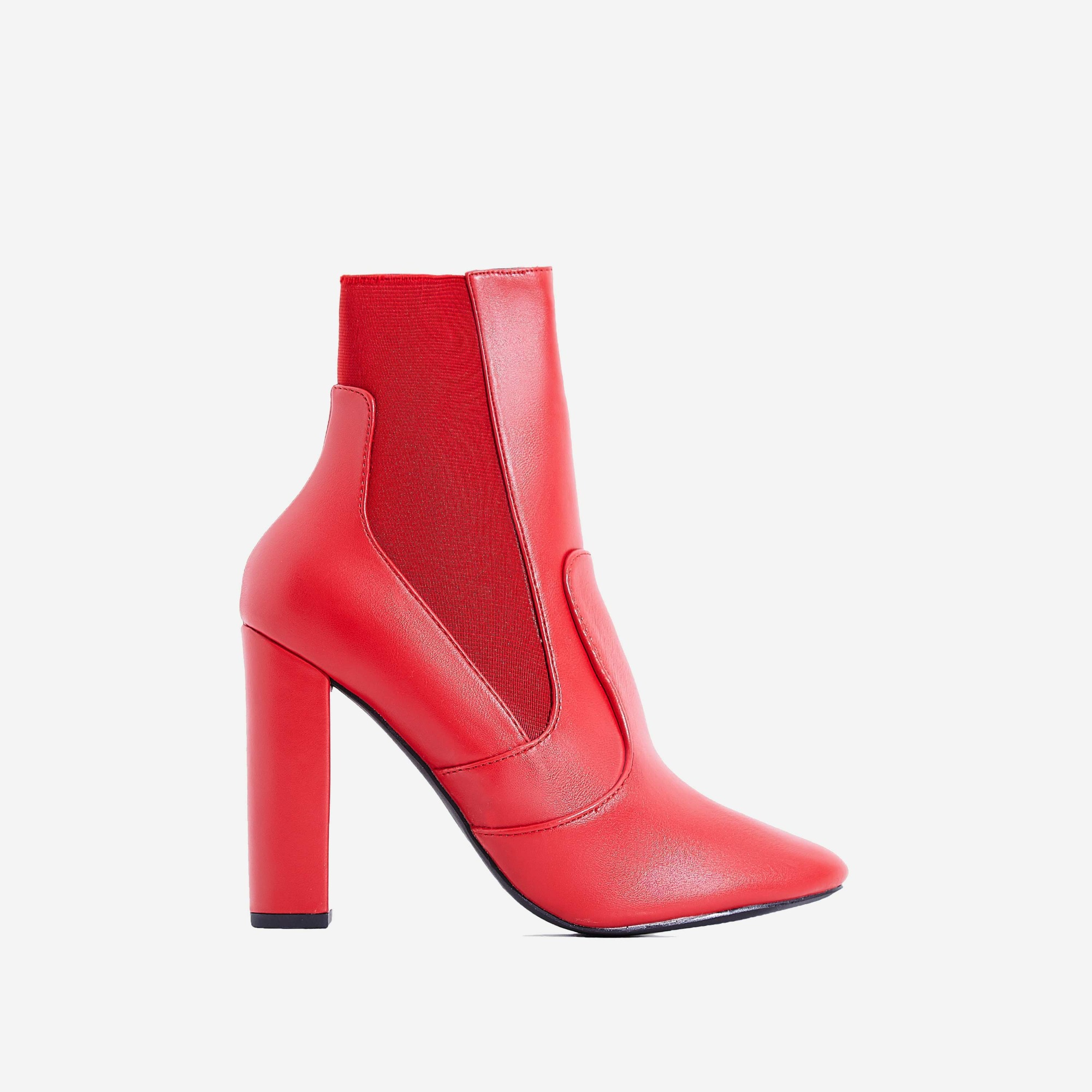 Rafael Block Heel Ankle Sock Boot In Red Faux Leather