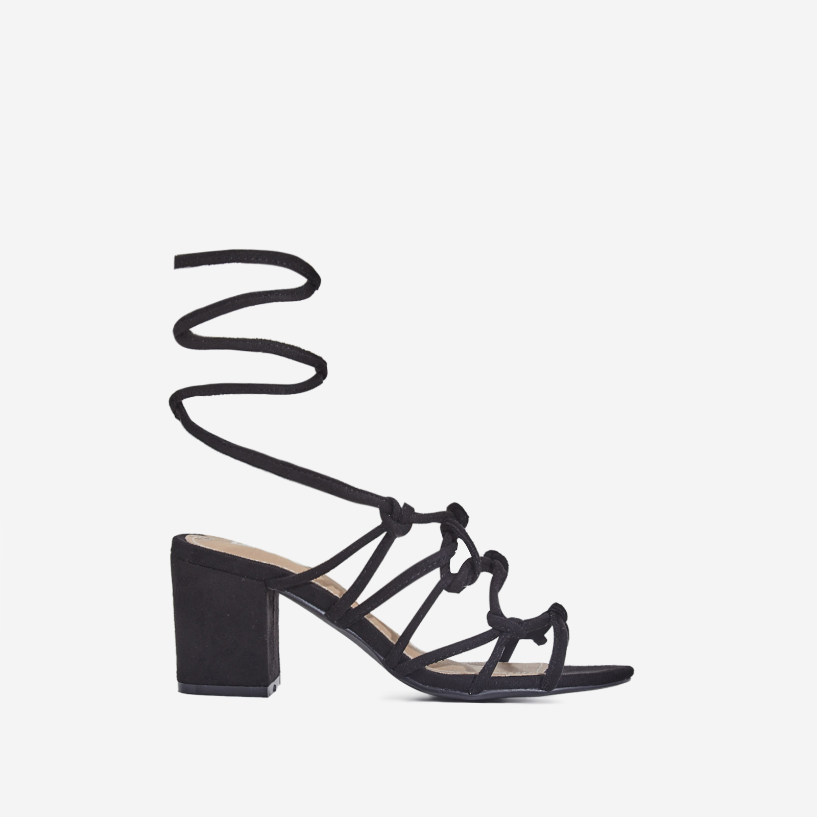 Raffi Midi Black Heel Lace Up Heel In Black Faux Suede