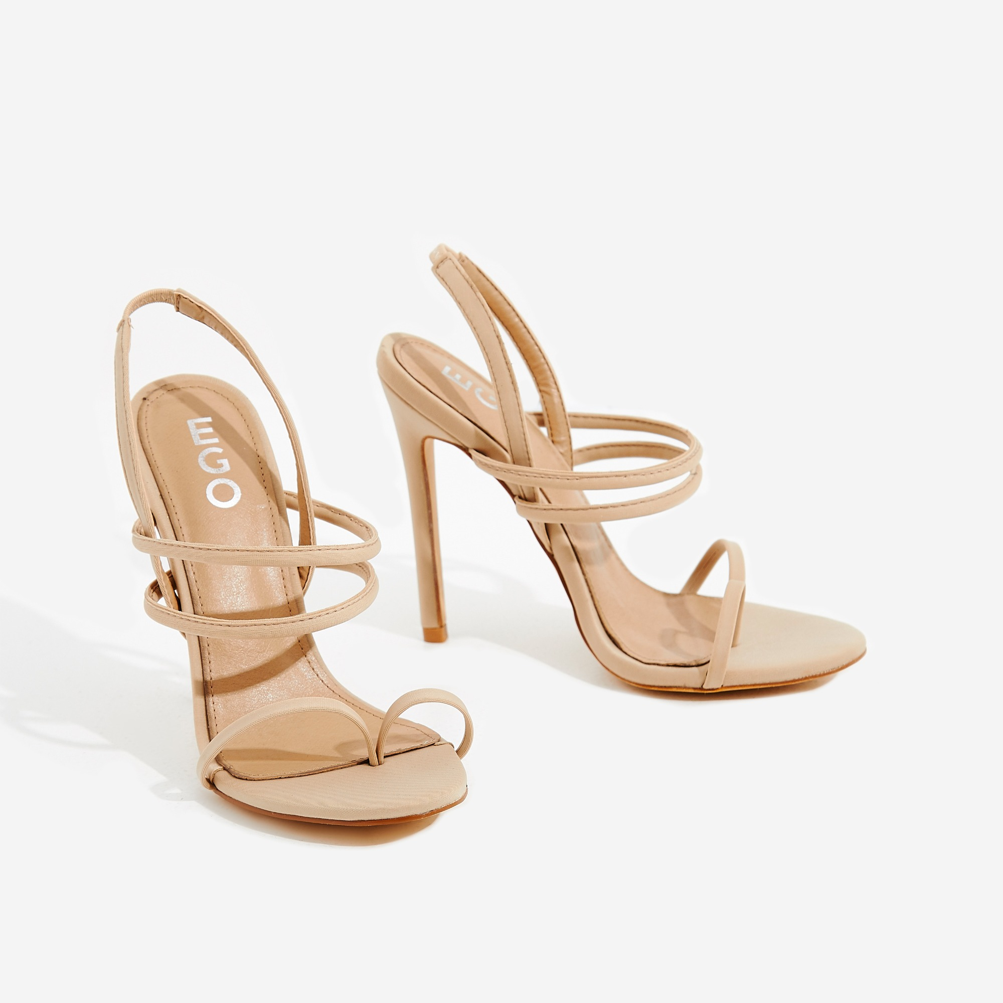 Rhia Strappy Toe Post Heel In Nude Lycra