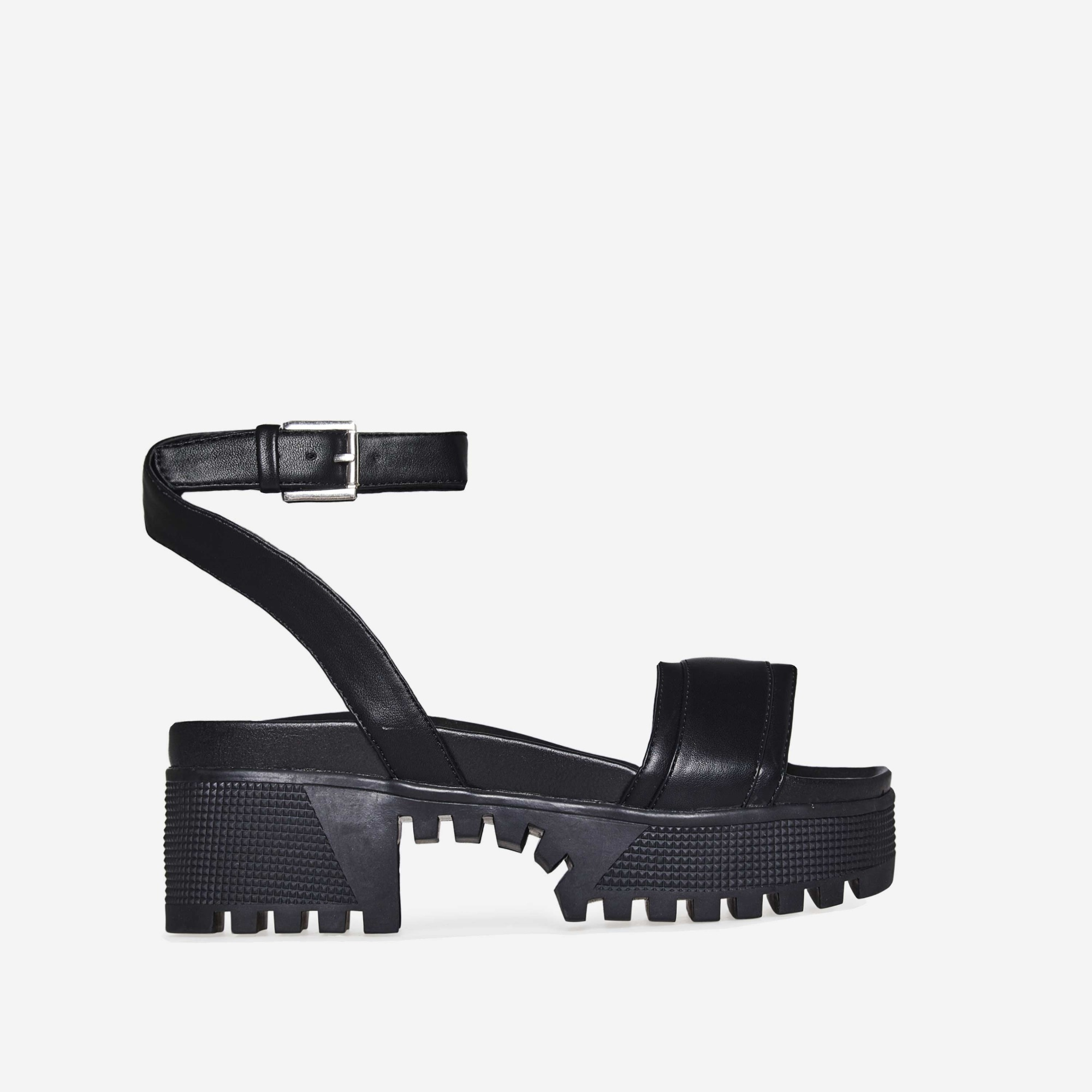 Rebel Chunky Sandal In Black Faux Leather