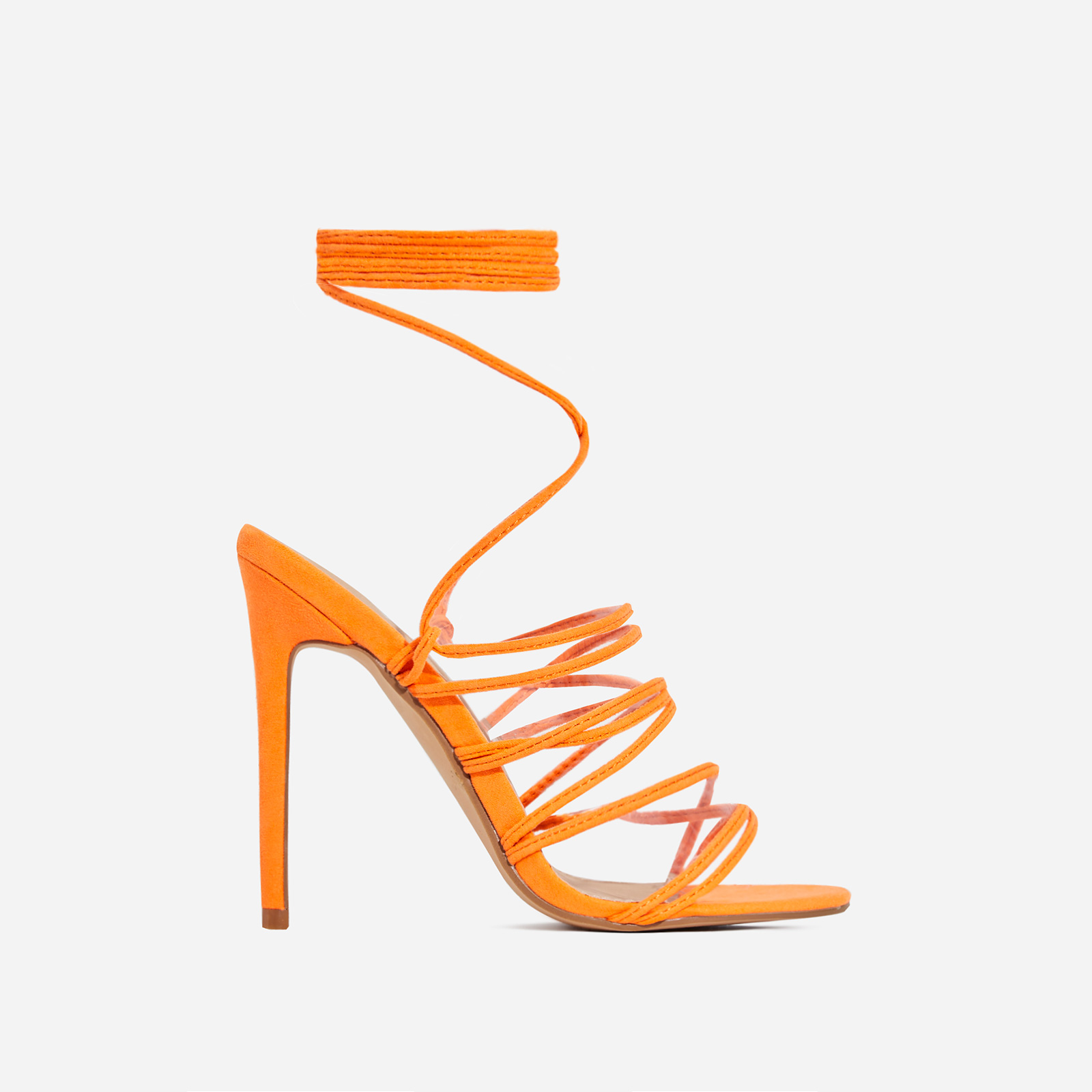 Revel Lace Up Square Toe Heel In Neon Orange Faux Suede