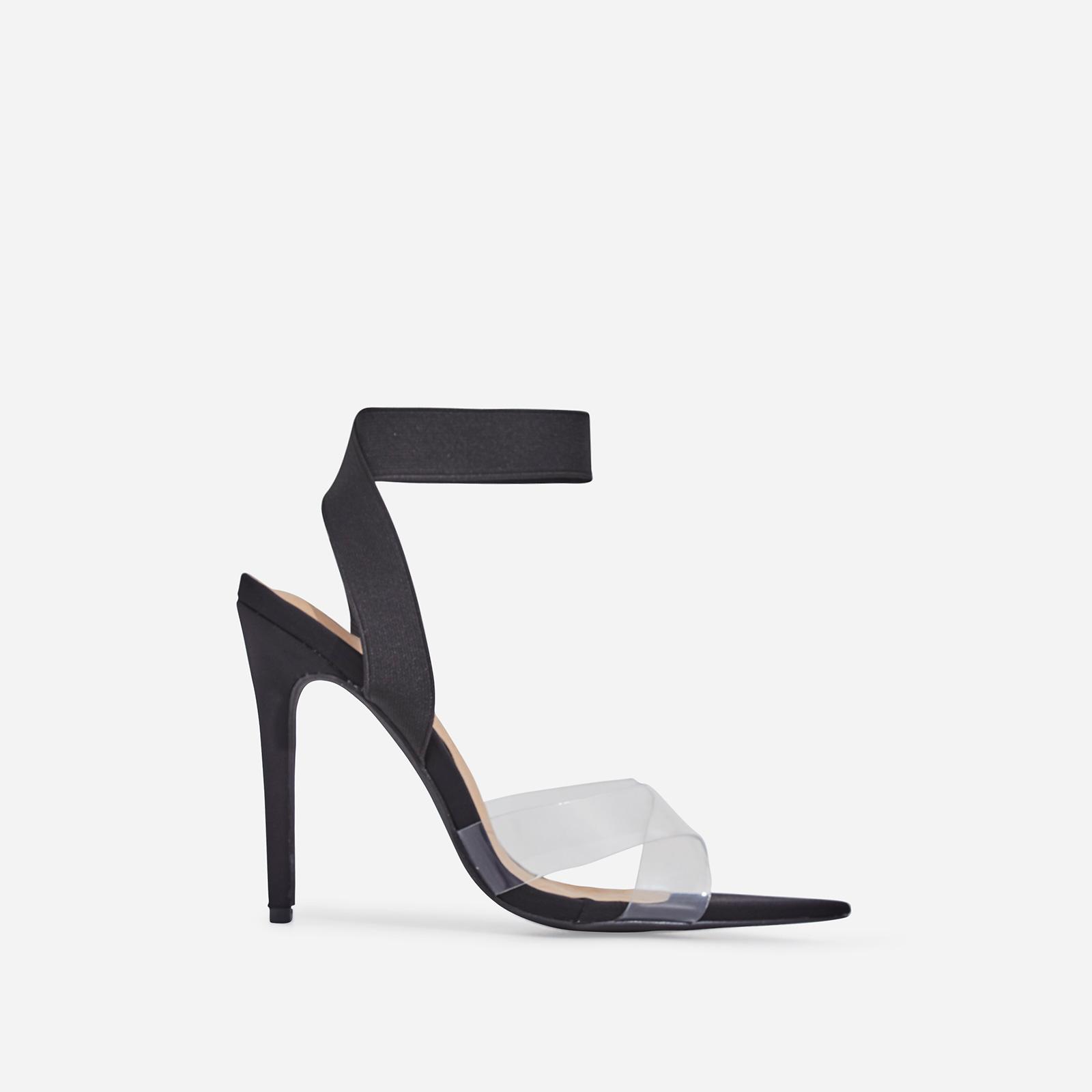 Reya Perspex Detail Elasticated Pointed Toe Heel In Black Faux Suede