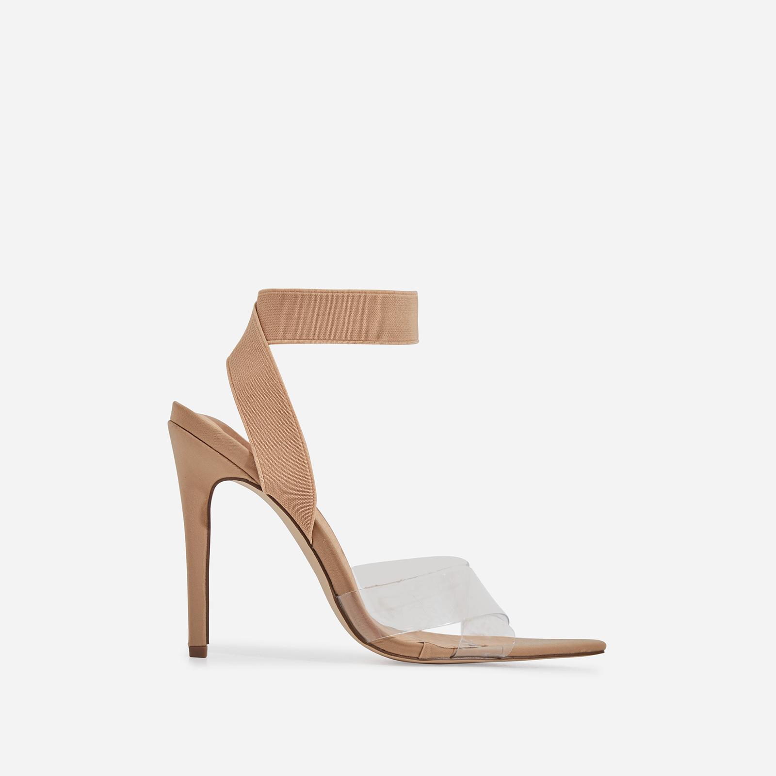 Reya Perspex Detail Elasticated Pointed Toe Heel In Nude Lycra