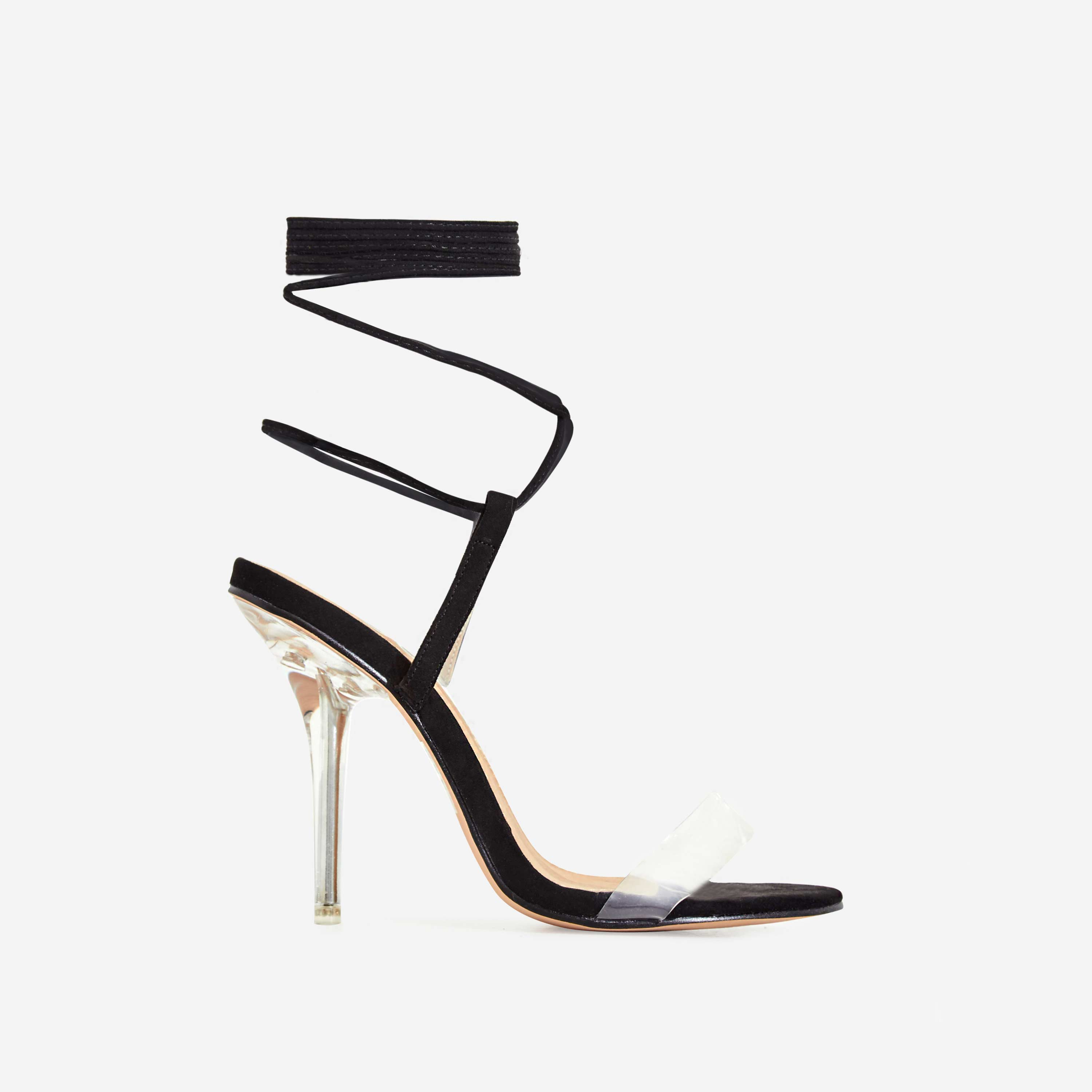 Rigby Lace Up Perspex Heel In Black Faux Suede