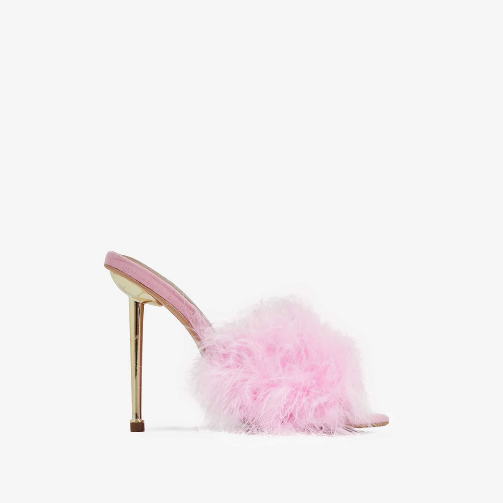 Risky Faux Feather Pointed Toe Heel Mule In Pink Faux Suede