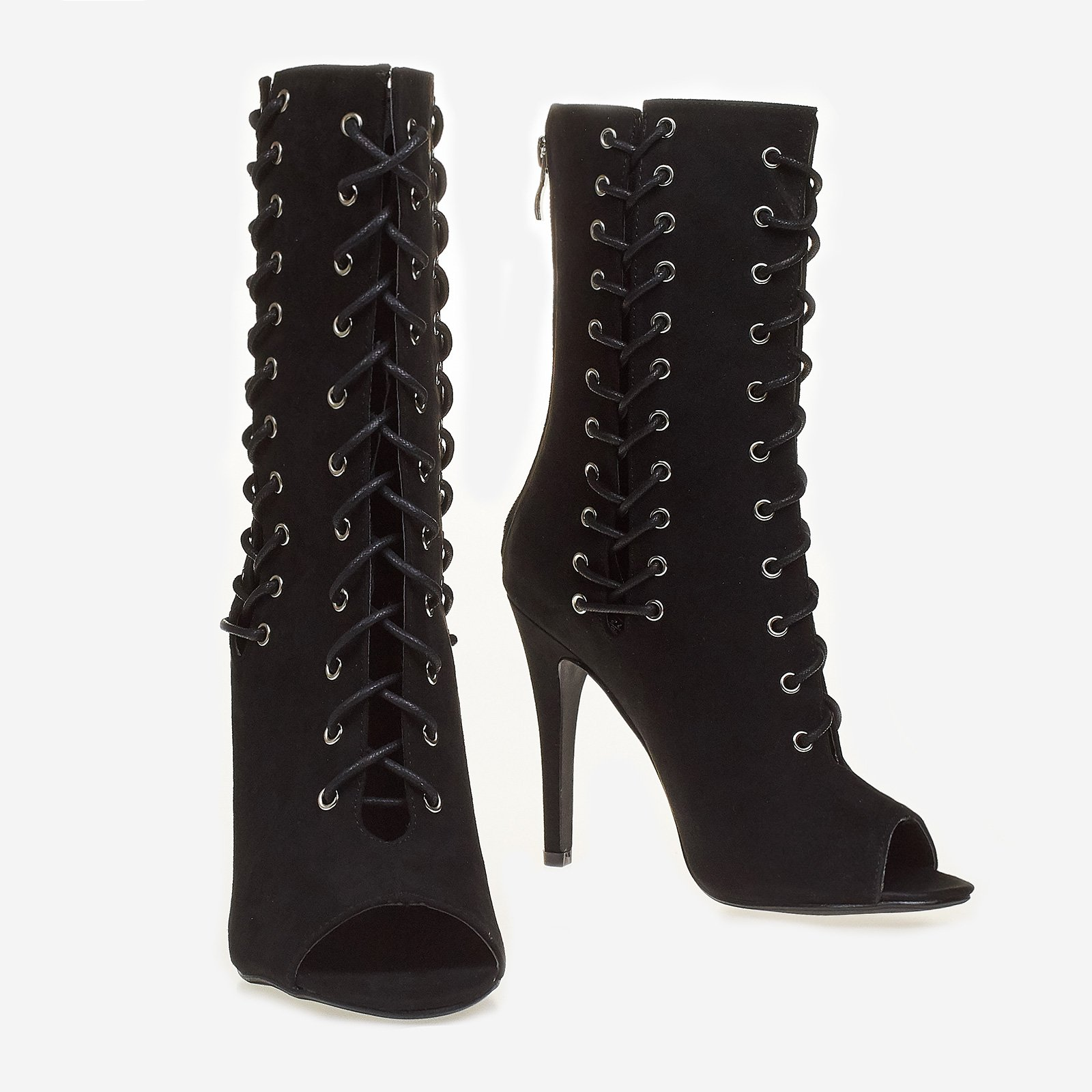Addicted Lace Up Peep Toe Ankle Boot In Black