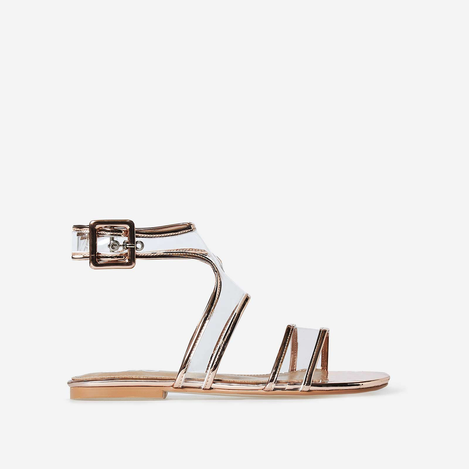 Rita Perspex Sandal In Rose Gold Faux Leather