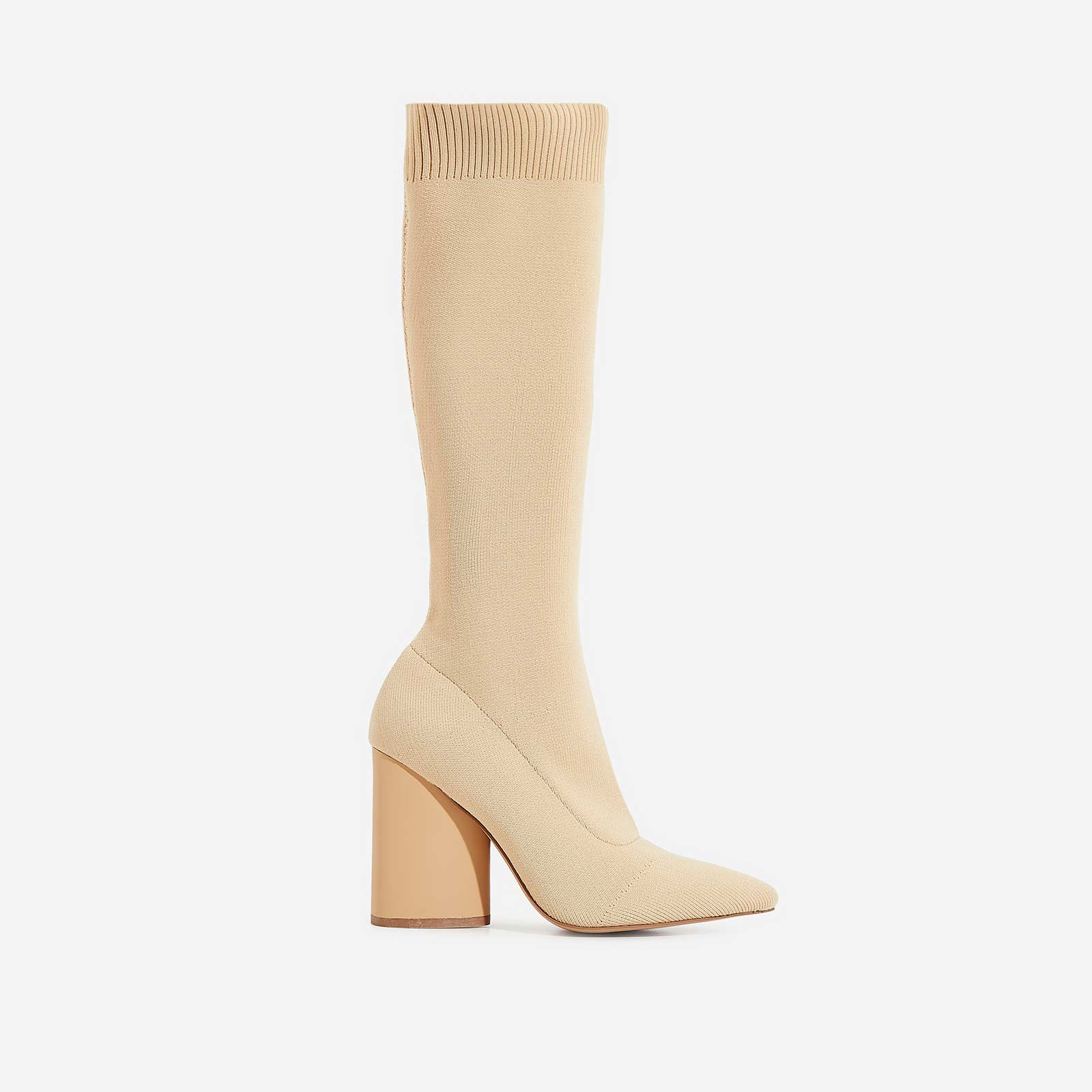 Rocco Block Heel Ankle Sock Boot In Nude Knit
