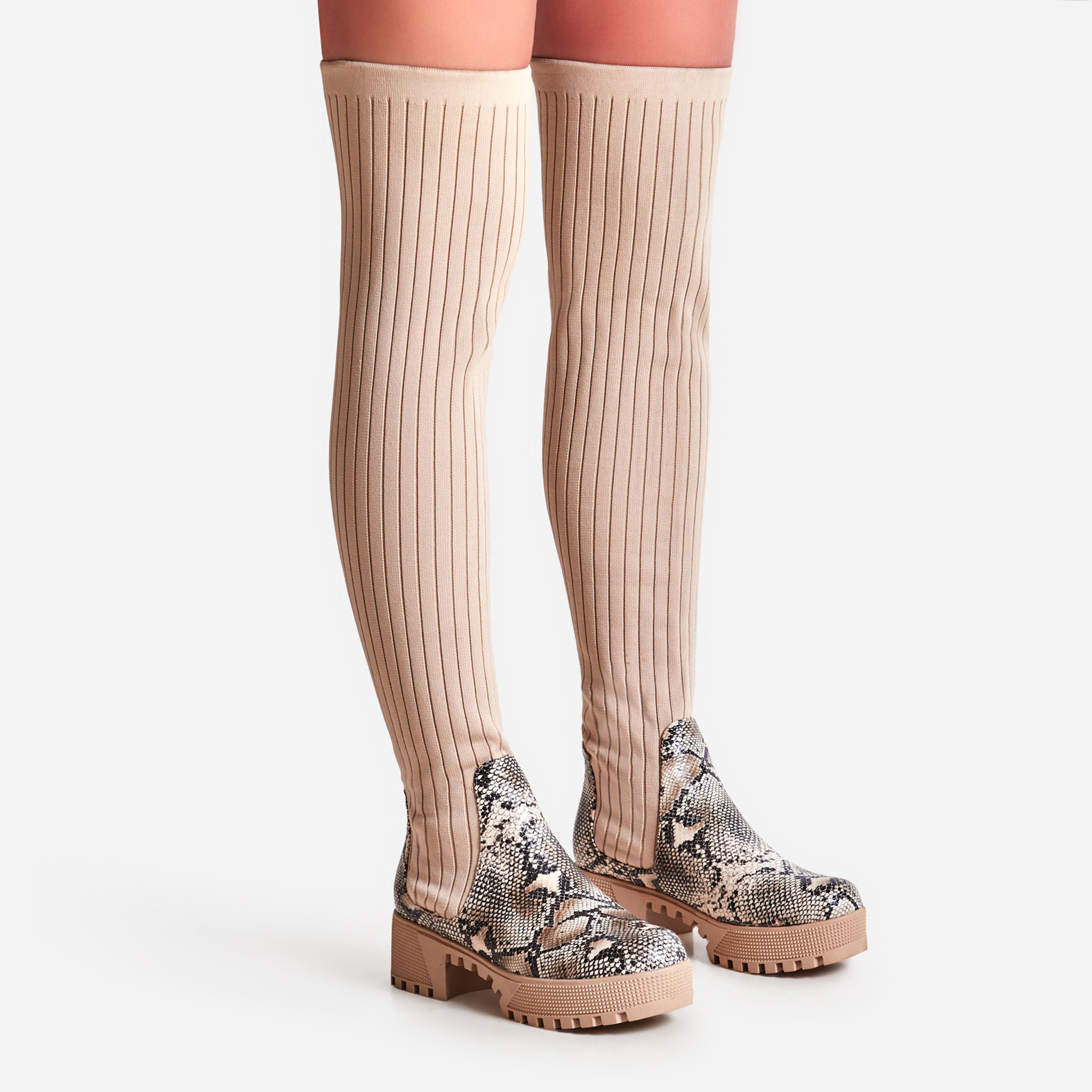 Colorado Knitted Thigh High Long Boot In Nude Snake Print Faux Leather