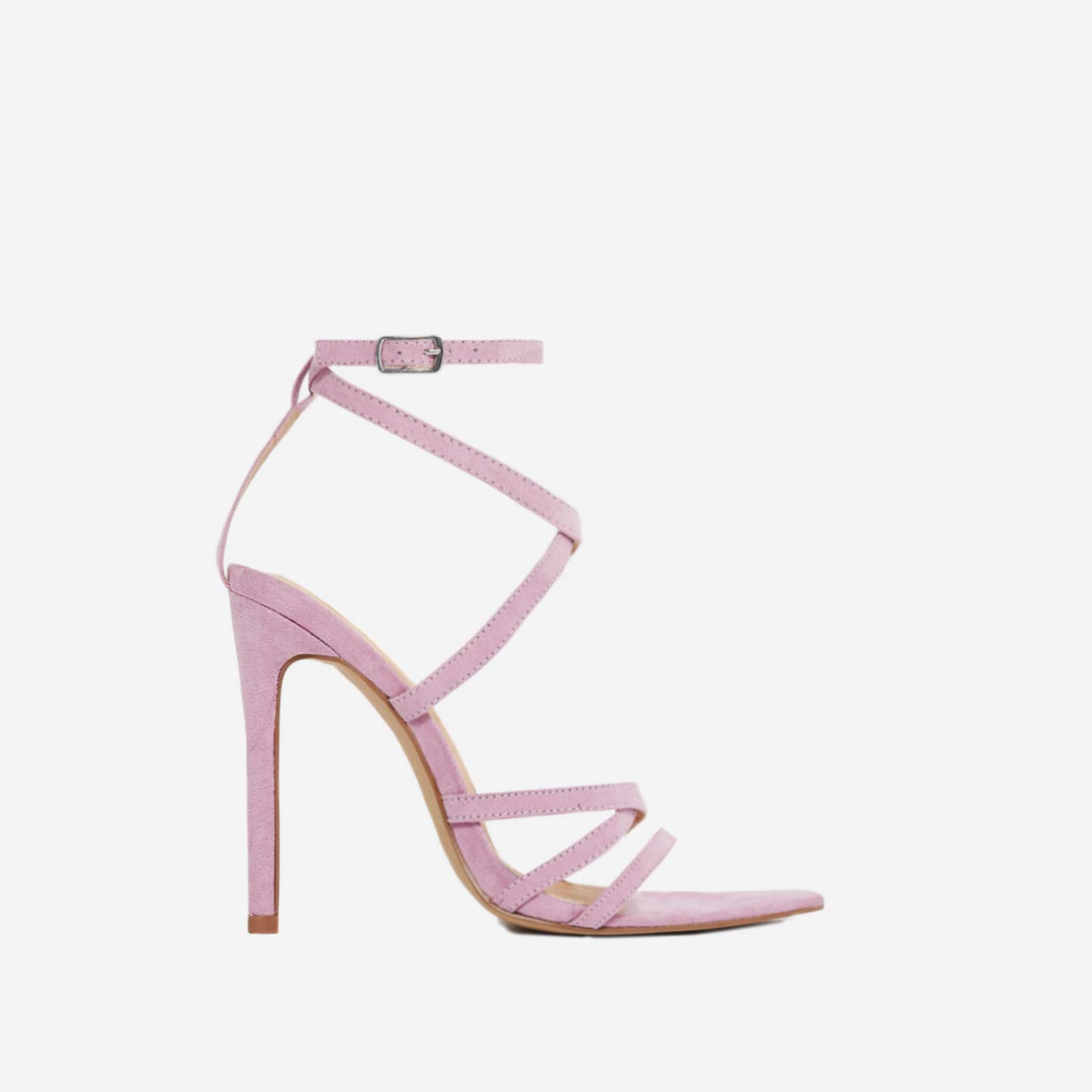 Rukaya Pointed Barely There Heel In Lilac Faux Suede